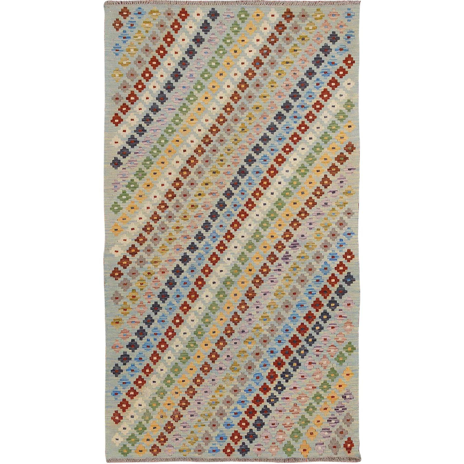 "3'5""x6'4"" Colorful Afghan Reversible Kilim Vegetable Dyes Pure Wool Hand Woven Oriental Rug"