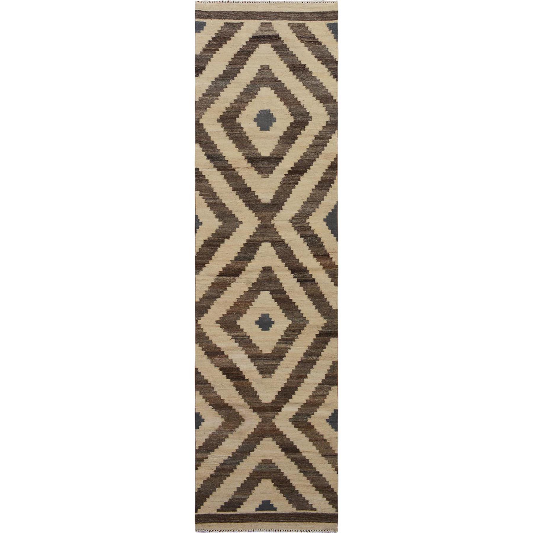 "2'5""x10'1"" Brown Reversible Afghan Kilim Geometric Design Runner Pure Wool Hand Woven Rug"