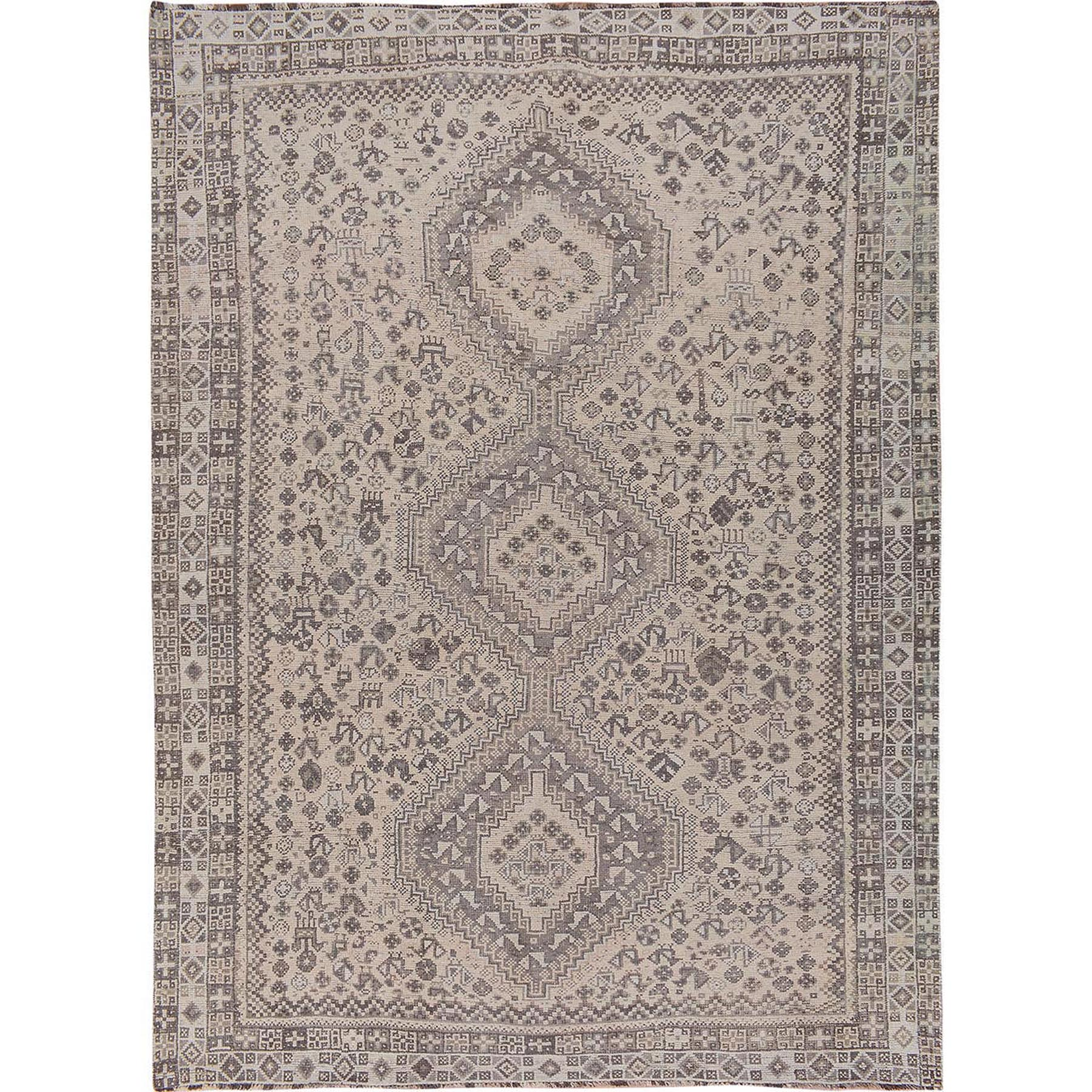 "7'7""x10'3"" Earth Tones Vintage and Worn Down Persian Shiraz Pure Wool Hand Woven Oriental Rug"