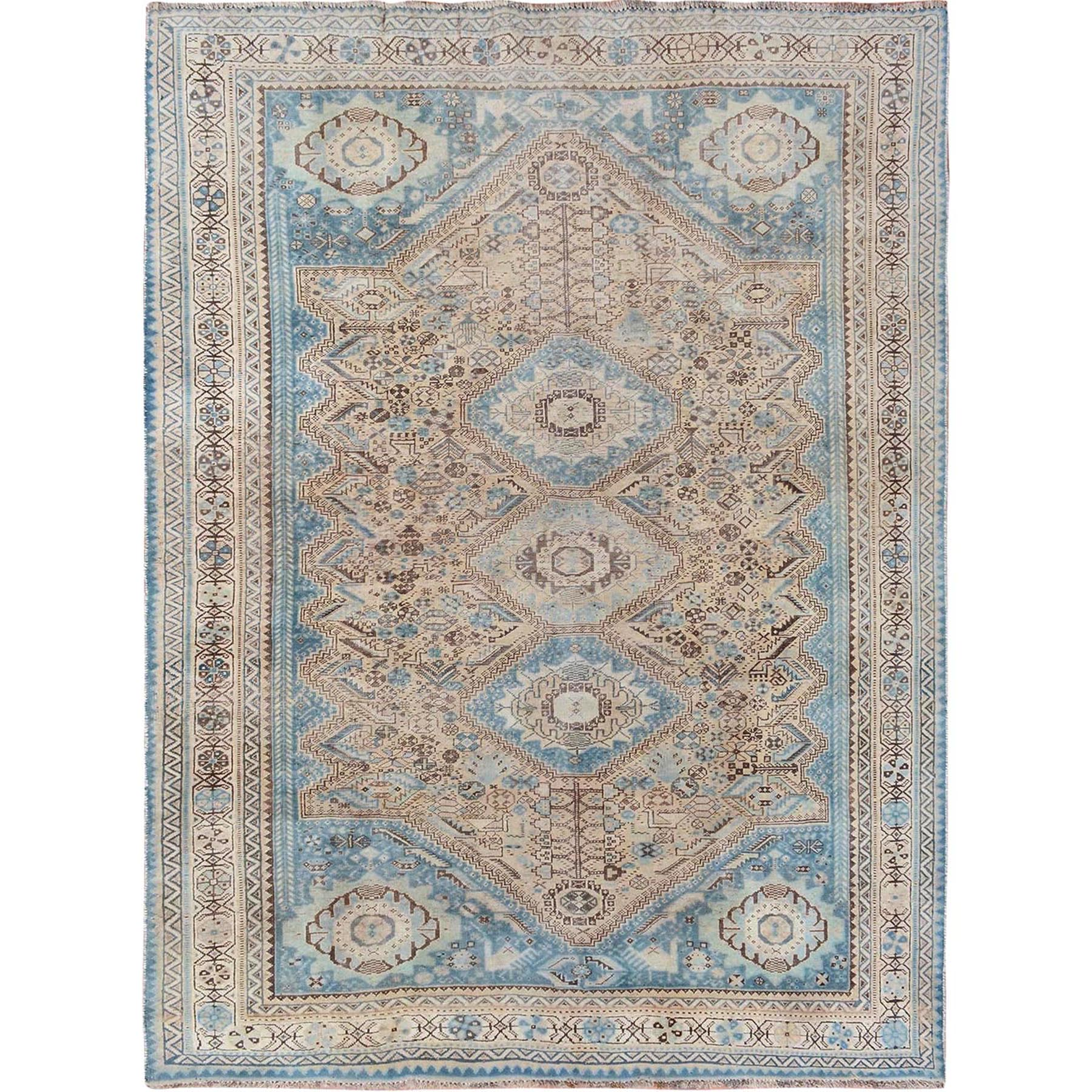 "6'x8'1"" Distressed Colors Vintage Persian Shiraz Worn Down Pure Wool Hand Woven Oriental Rug"