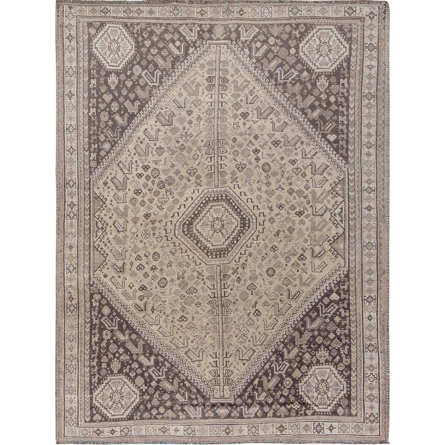 "7'2""x9'5"" Natural Colors Vintage And Worn Down Persian Shiraz Pure Wool Hand Woven Oriental Rug"