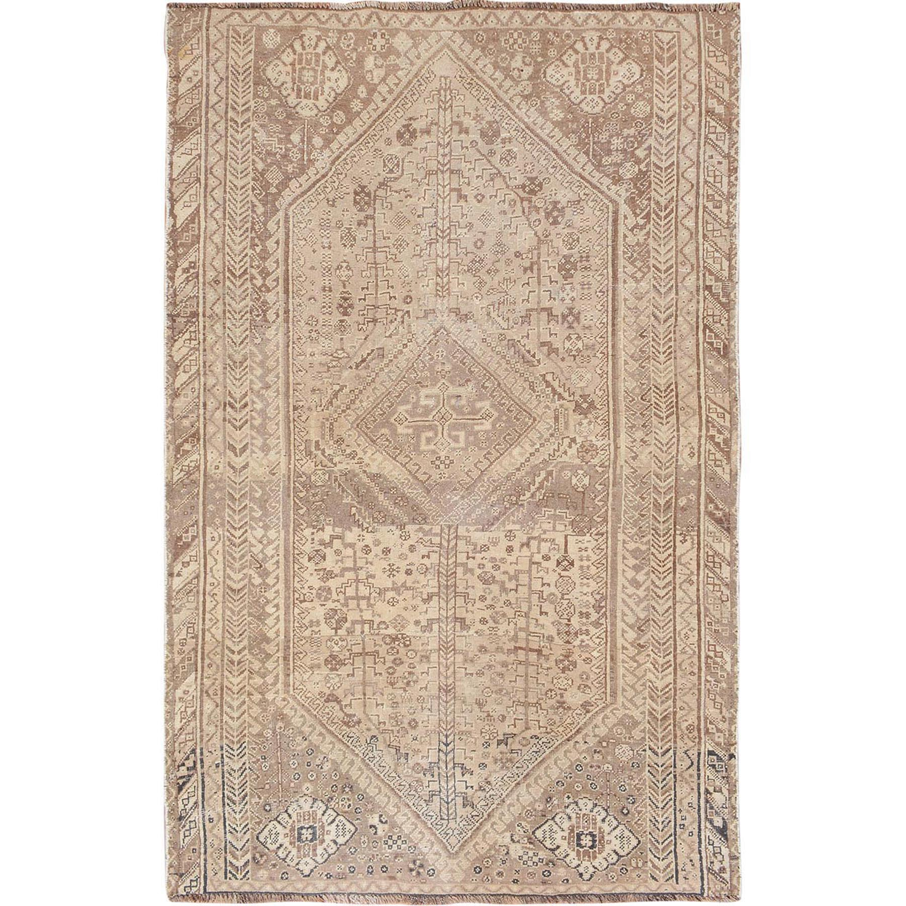 "4'9""x7'2"" Natural Colors Old and Worn Down Persian Shiraz Hand Woven Oriental Rug"