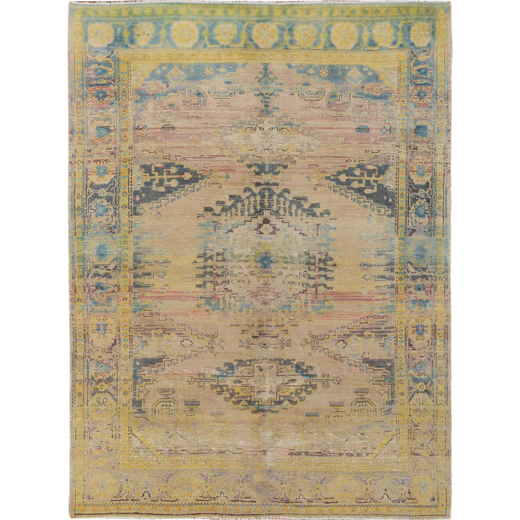"5'3""x6'10"" Yellow And Blue Overdyed Worn Down Persian Tabriz Clean Pure Wool Hand Woven Oriental Rug"