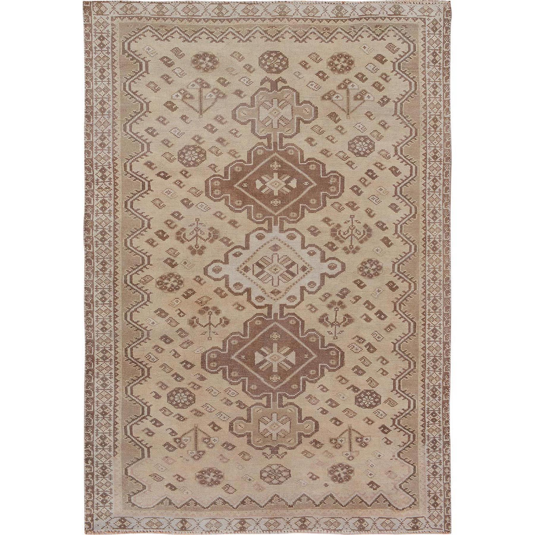 "5'x7'5"" Earth Tones Vintage and Worn Down Persian Shiraz Clean Pure Wool Hand Woven Oriental Rug"