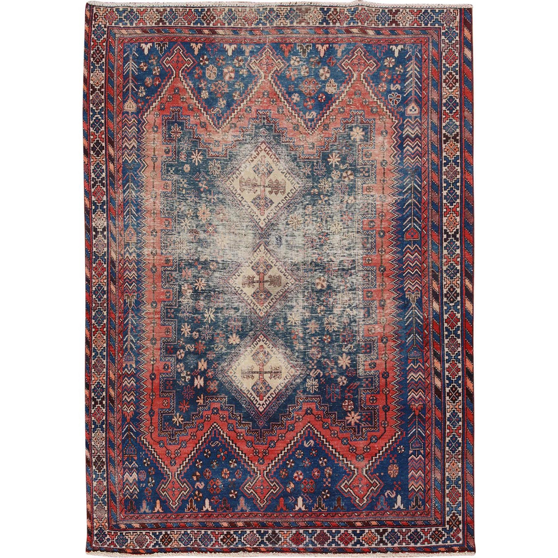 5'x7' Natural Colors Old and Worn Down Persian Shiraz Hand Woven Oriental Rug