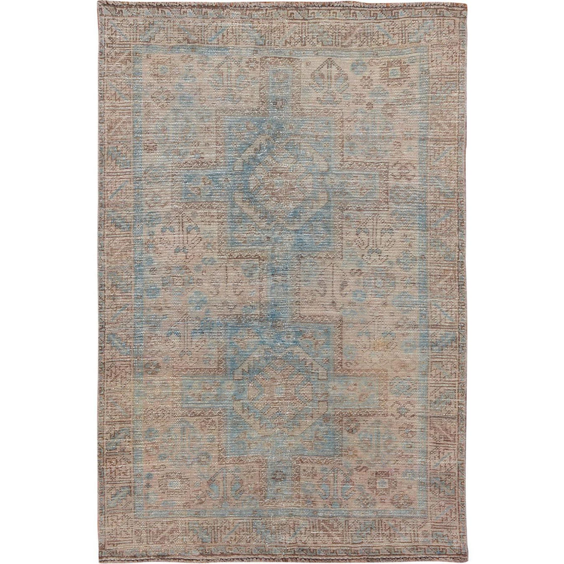 "3'9""x5'8"" Natural Colors With Blues Vintage and Worn Down Persian Shiraz Clean Pure Wool Hand Woven Oriental Rug"