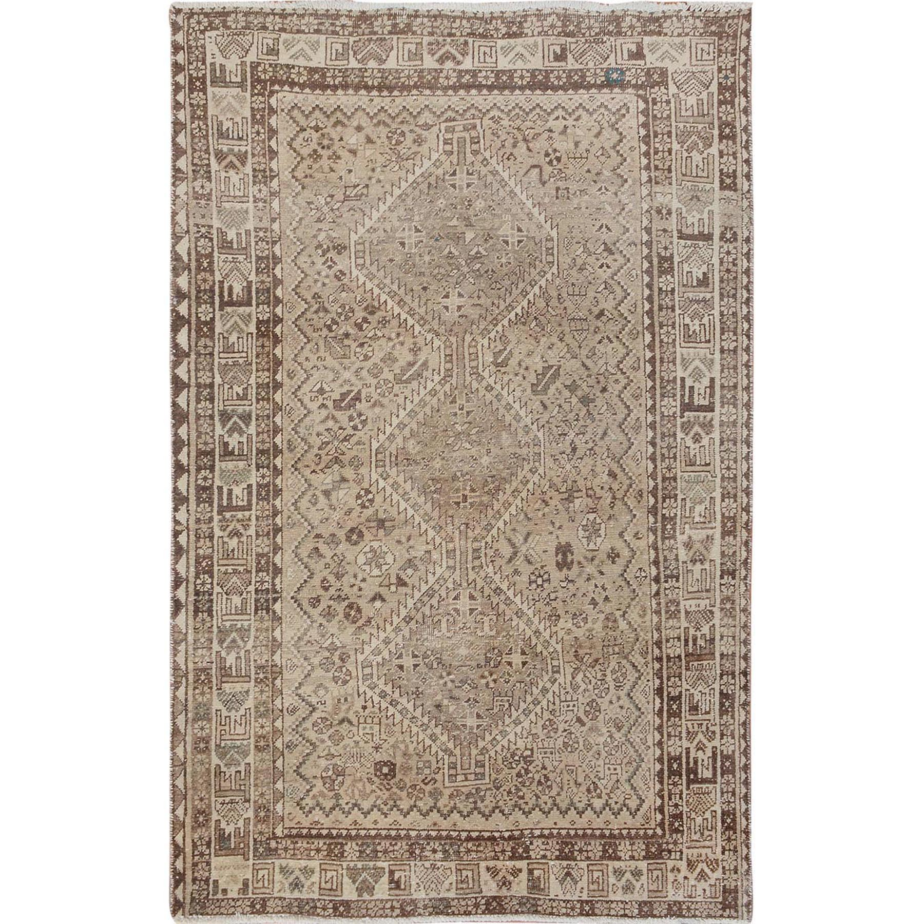 "3'9""x6'  Natural Colors Vintage And Worn Down Persian Shiraz Clean Pure Wool Hand Woven Oriental Rug"