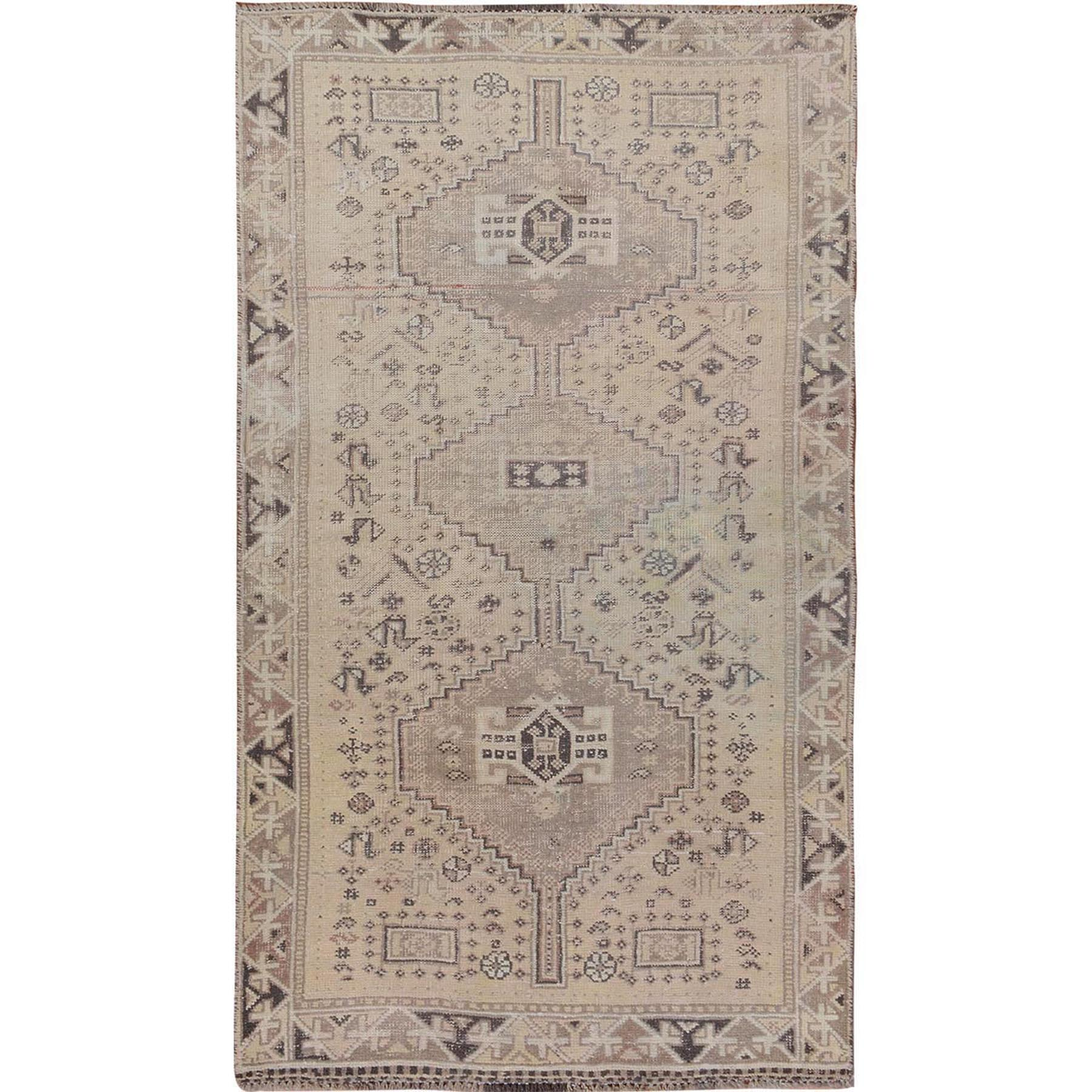 "3'4""x6'1"" Natural Colors Vintage and Worn Down Persian Qashqai Clean Pure Wool Hand Woven Oriental Rug"