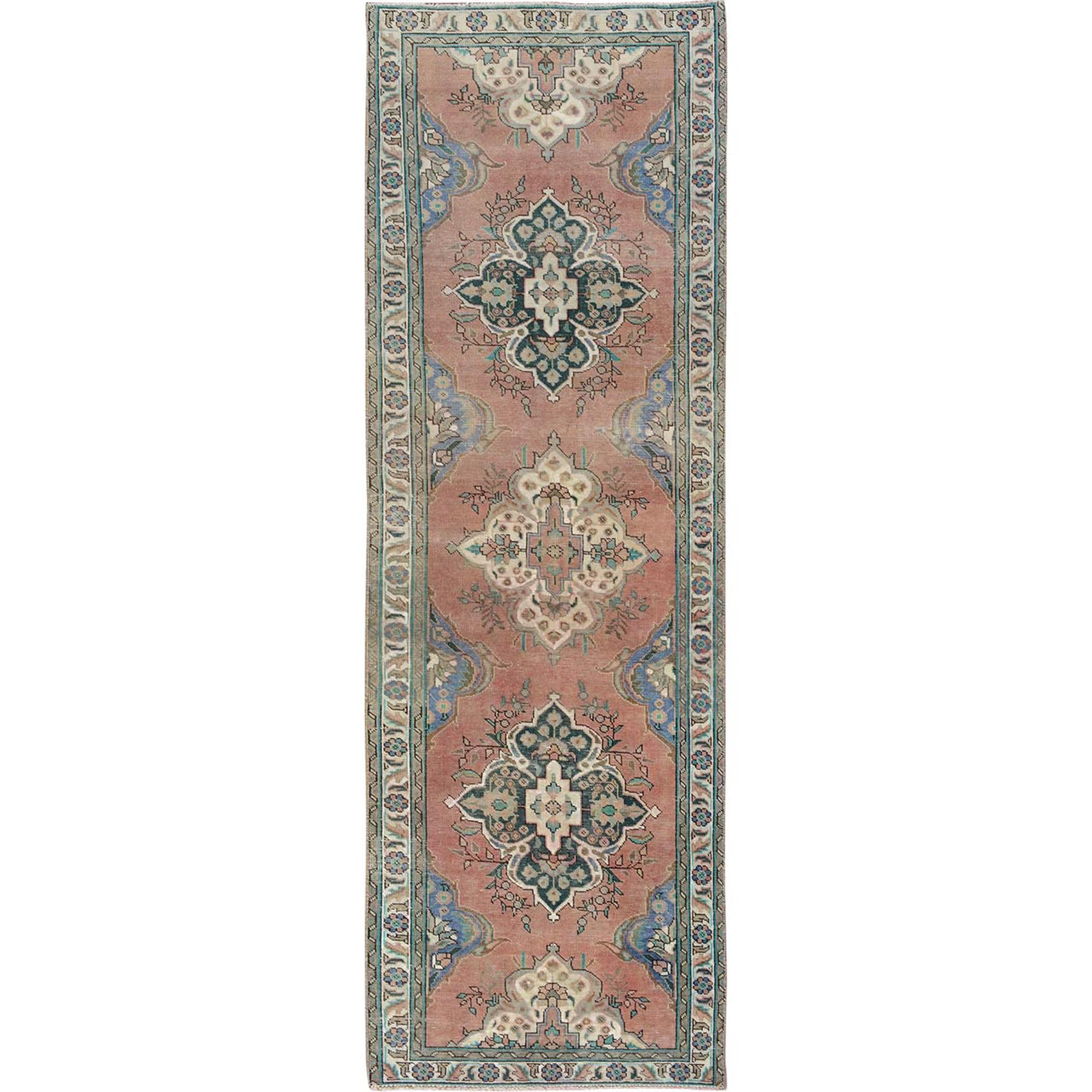 "3'1""x9'3"" Coral Wide Runner Old Persian Tabriz Worn Down Hand Woven Pure Wool Oriental Rug"