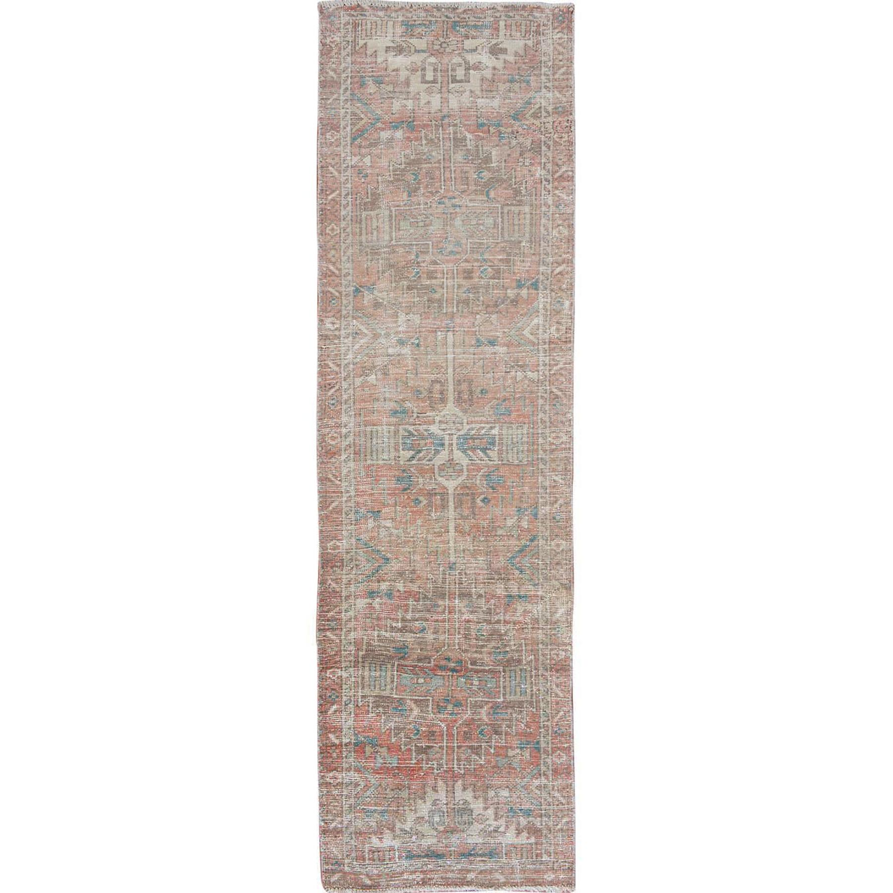 "2'9""x10'5"" Natural Colors Vintage and Worn Down Clean Persian Heriz Hand Woven Runner Oriental Rug"