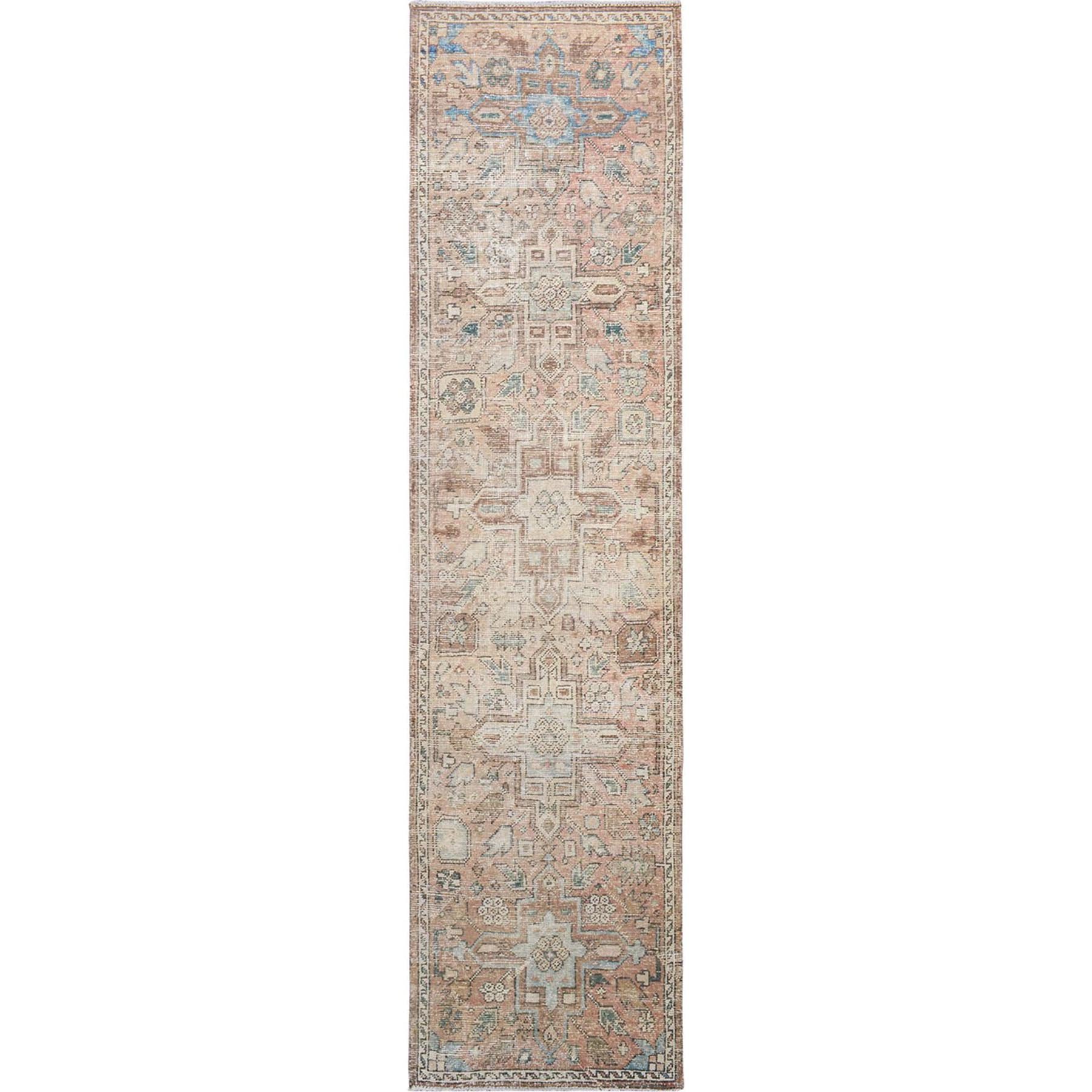 "2'8""x11'4"" Natural Colors Vintage and Worn Down Persian Heriz Hand Woven Runner Oriental Rug"
