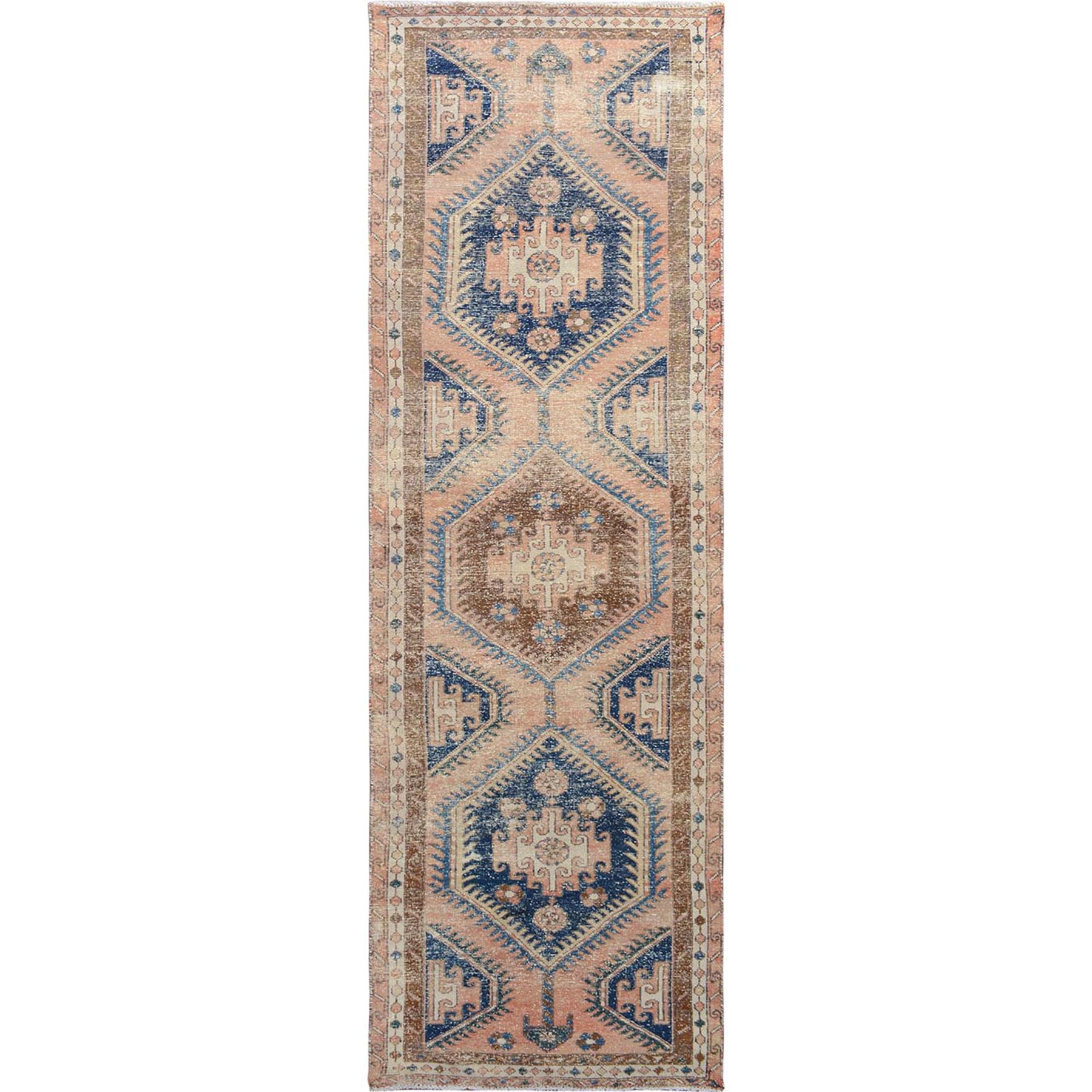 "3'2""x10'5""  Touch of Blue Old And Worn Down Persian Heriz Runner Hand Woven Oriental"