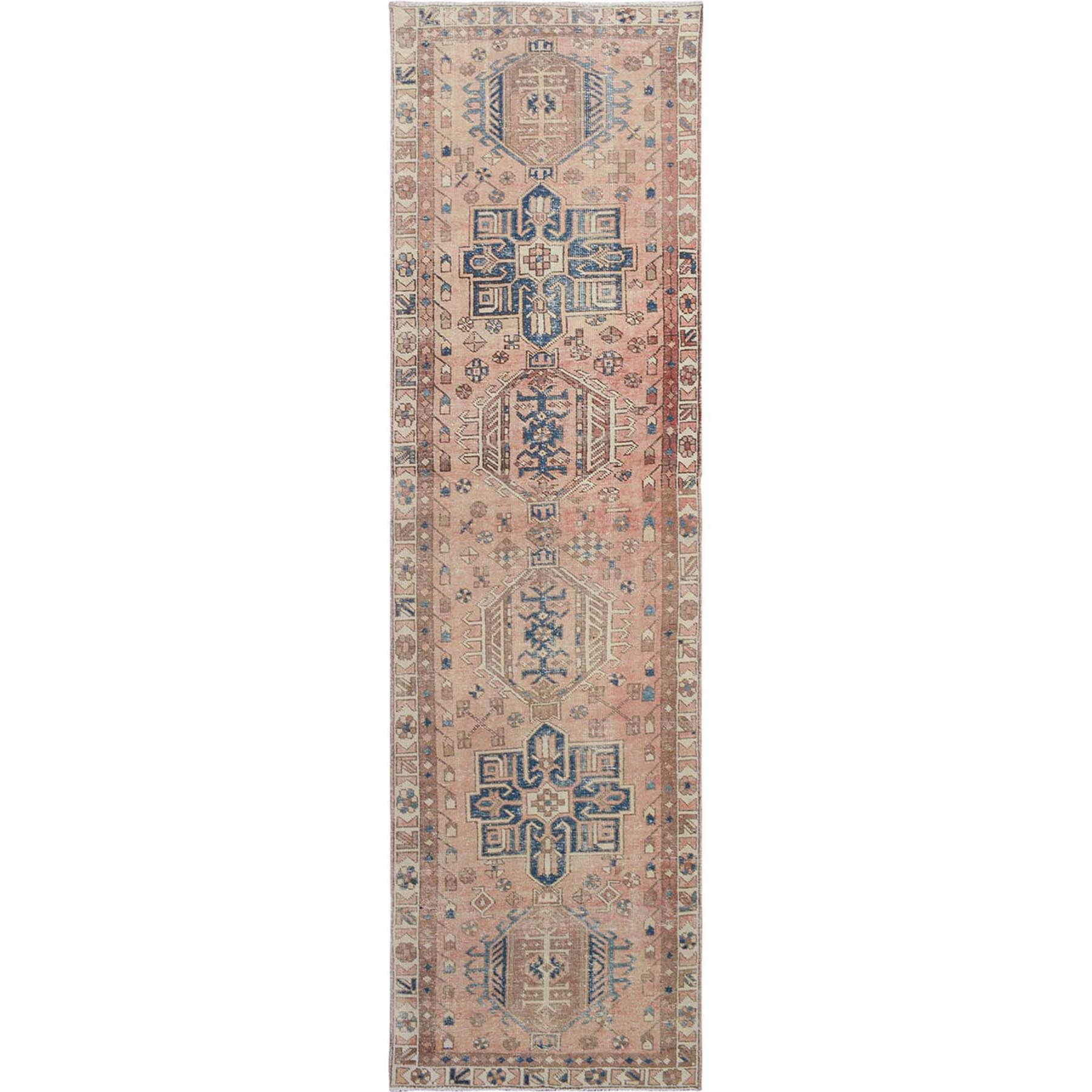 "3'x10'7"" Beige Vintage And Worn Down Persian Karajeh Hand Woven Runner Oriental Rug"