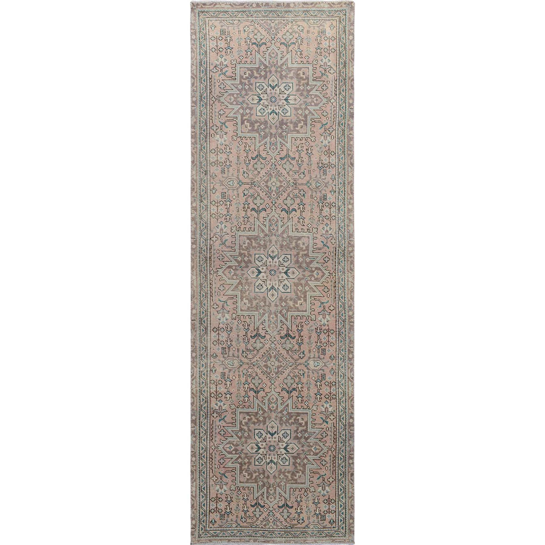"3'x10'1"" Pink Vintage and Worn Down Persian Heriz Runner Pure Wool Hand Woven Oriental Rug"
