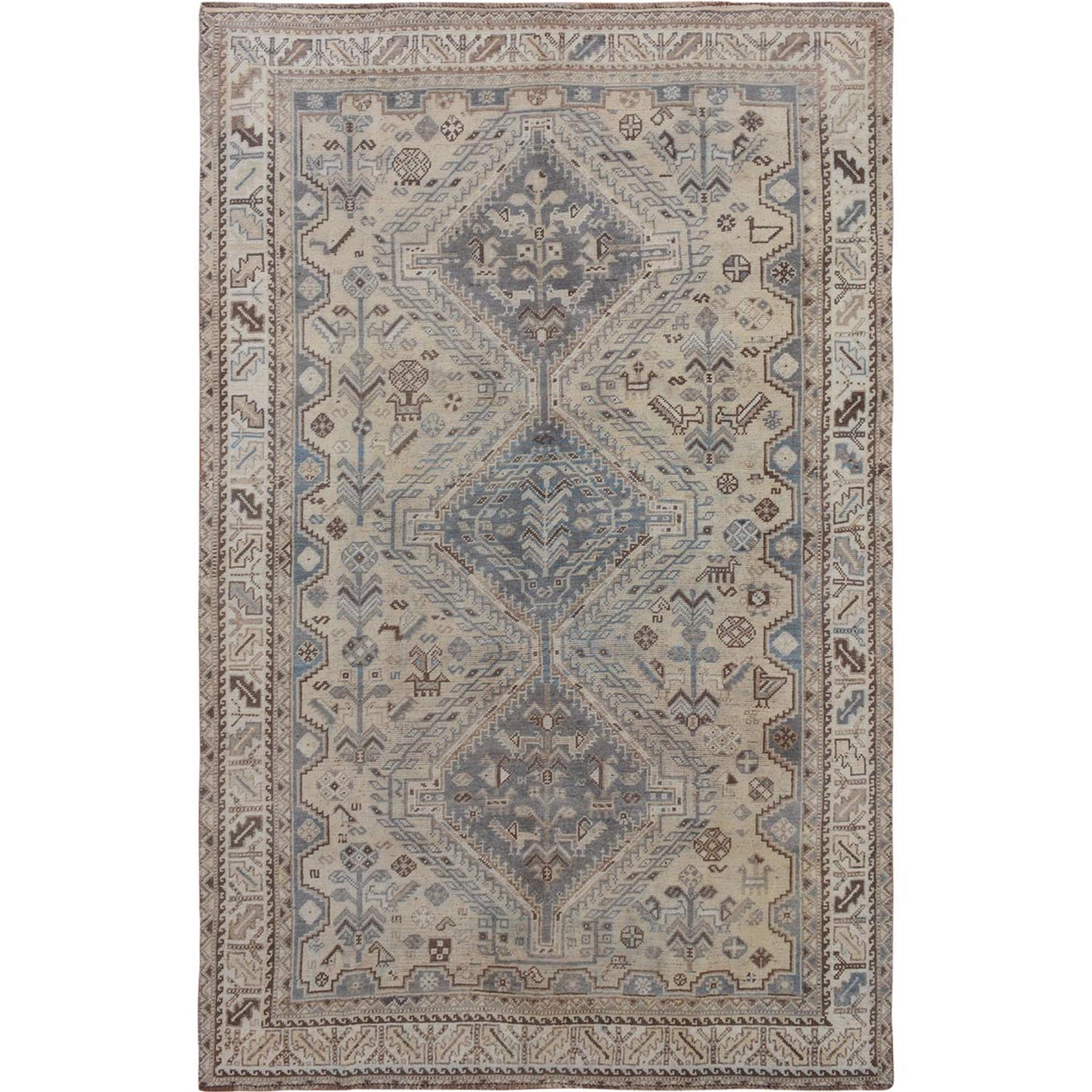 "5'5""x8'9"" Natural Colors Vintage and Worn Down Persian Shiraz Clean Hand Woven Pure Wool Oriental Rug"