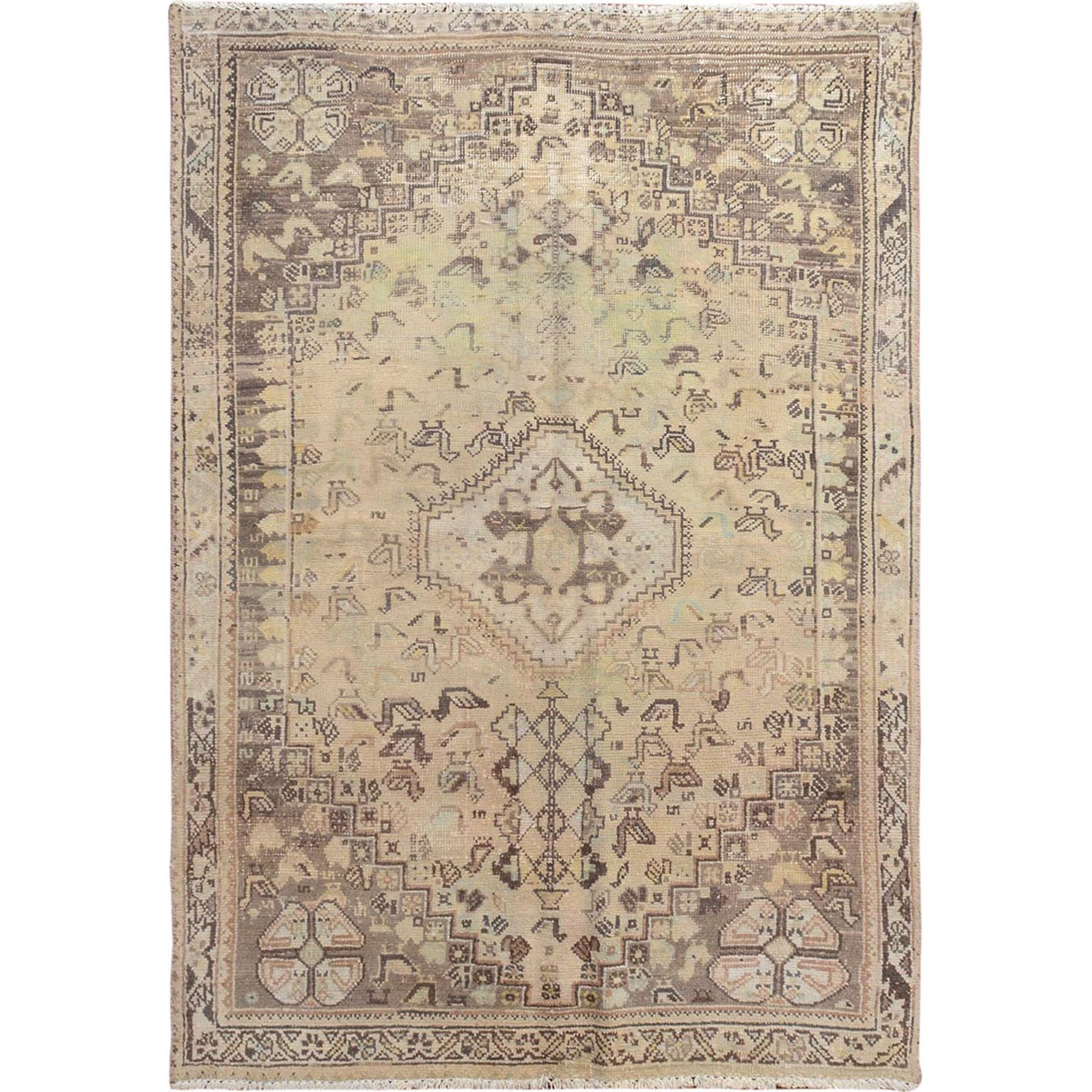 "3'8""x5'3"" Beige Vintage and Worn Down Persian Qashqai Clean Hand Woven Oriental Rug"
