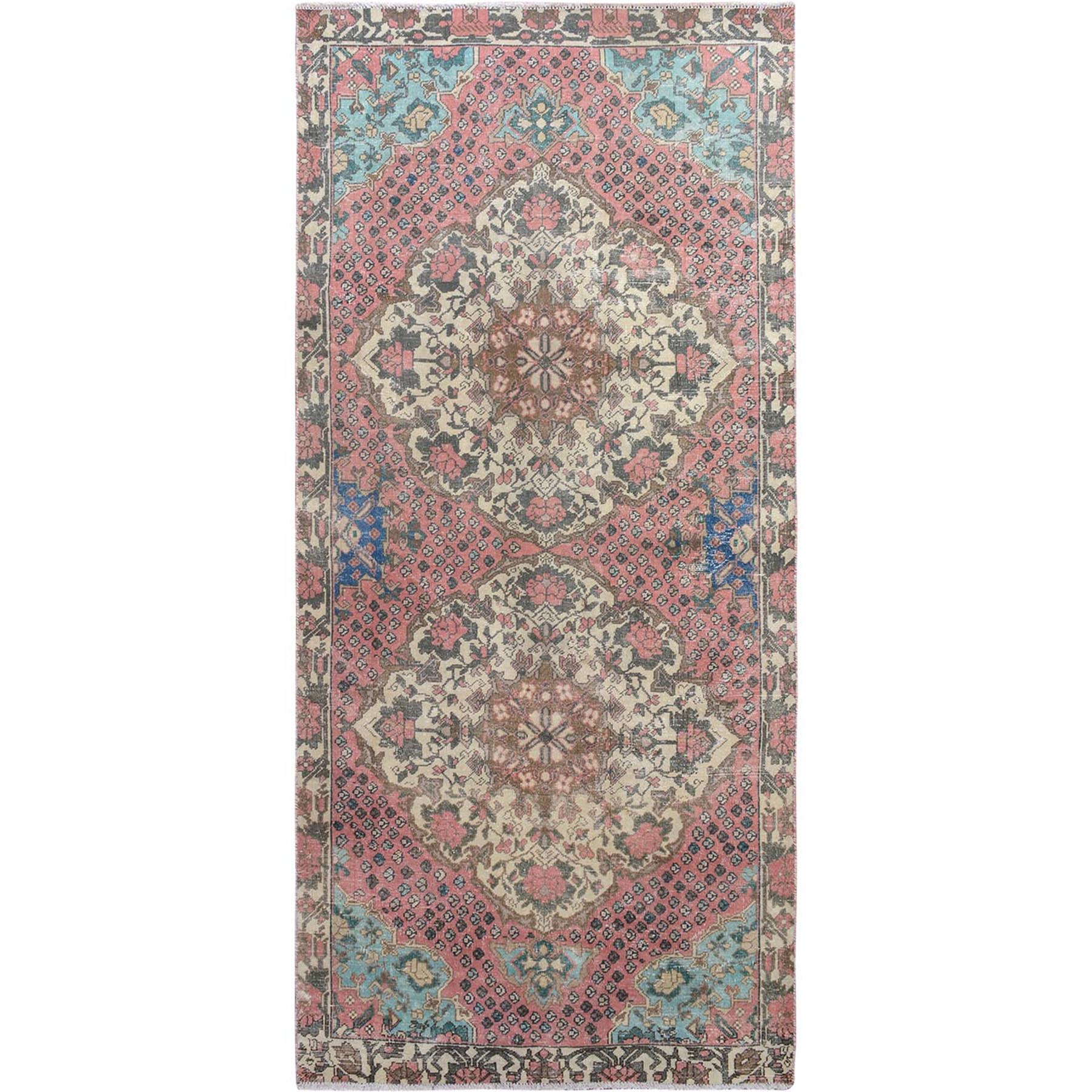 "4'5""x9' Pink Vintage and Worn Down Washed Runner Persian Antique Bakhtiari Hand Woven Oriental Rug"