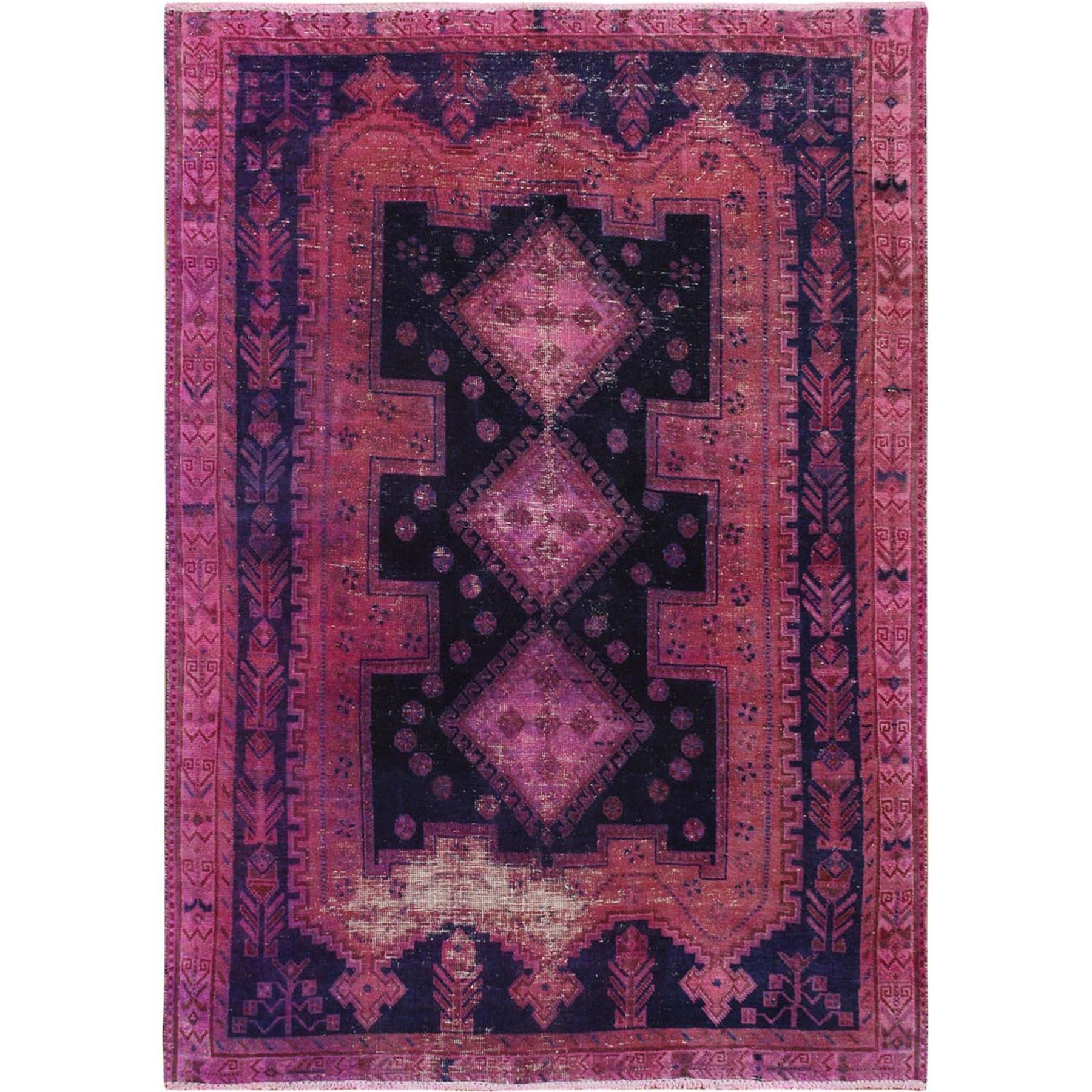 "4'1""x5'7"" Pink Vintage and Worn Down Persian Shiraz Clean Hand Woven Pure Wool Oriental Rug"