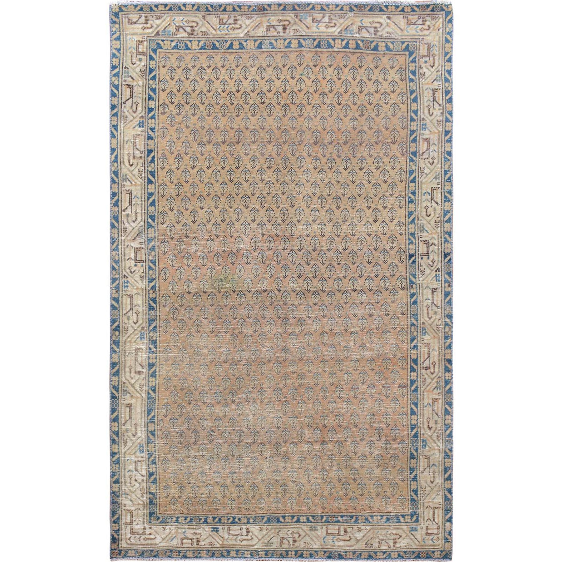 "4'2""x6'10"" Natural Colors Vintage and Worn Down Washed Out Persian Serab Hand Woven Oriental Rug"