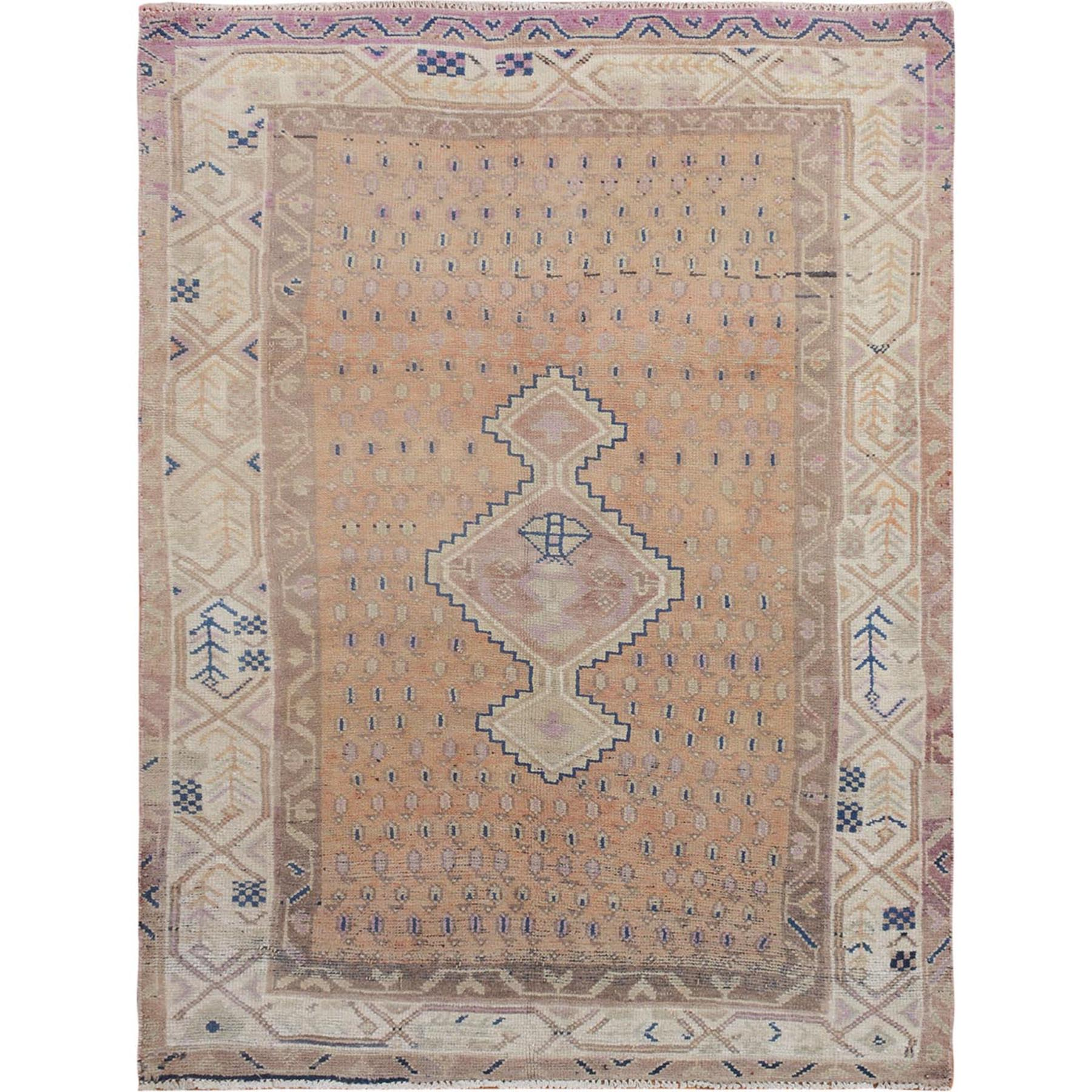 "4'8""x6'4"" Distressed Colors Vintage Persian Shiraz Clean Worn Down Pure Wool Hand Woven Oriental Rug"
