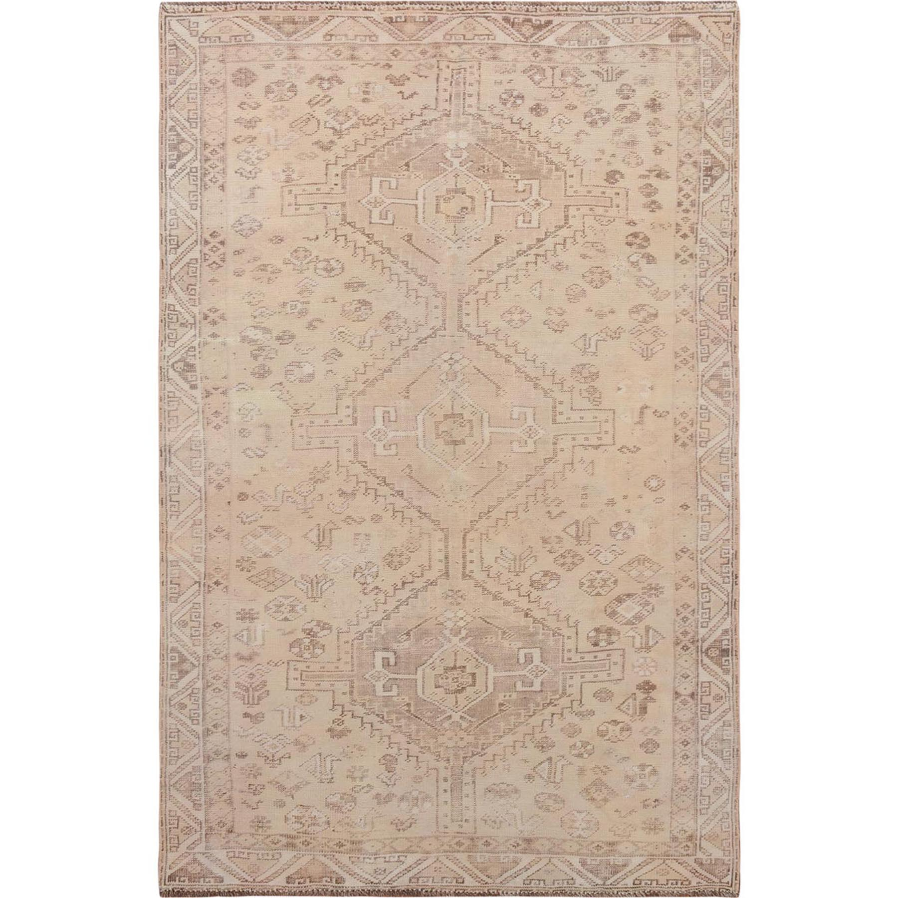 "4'10""x7'4"" Earth Tones Vintage and Worn Down Persian Shiraz Clean Pure Wool Hand Woven Oriental Rug"
