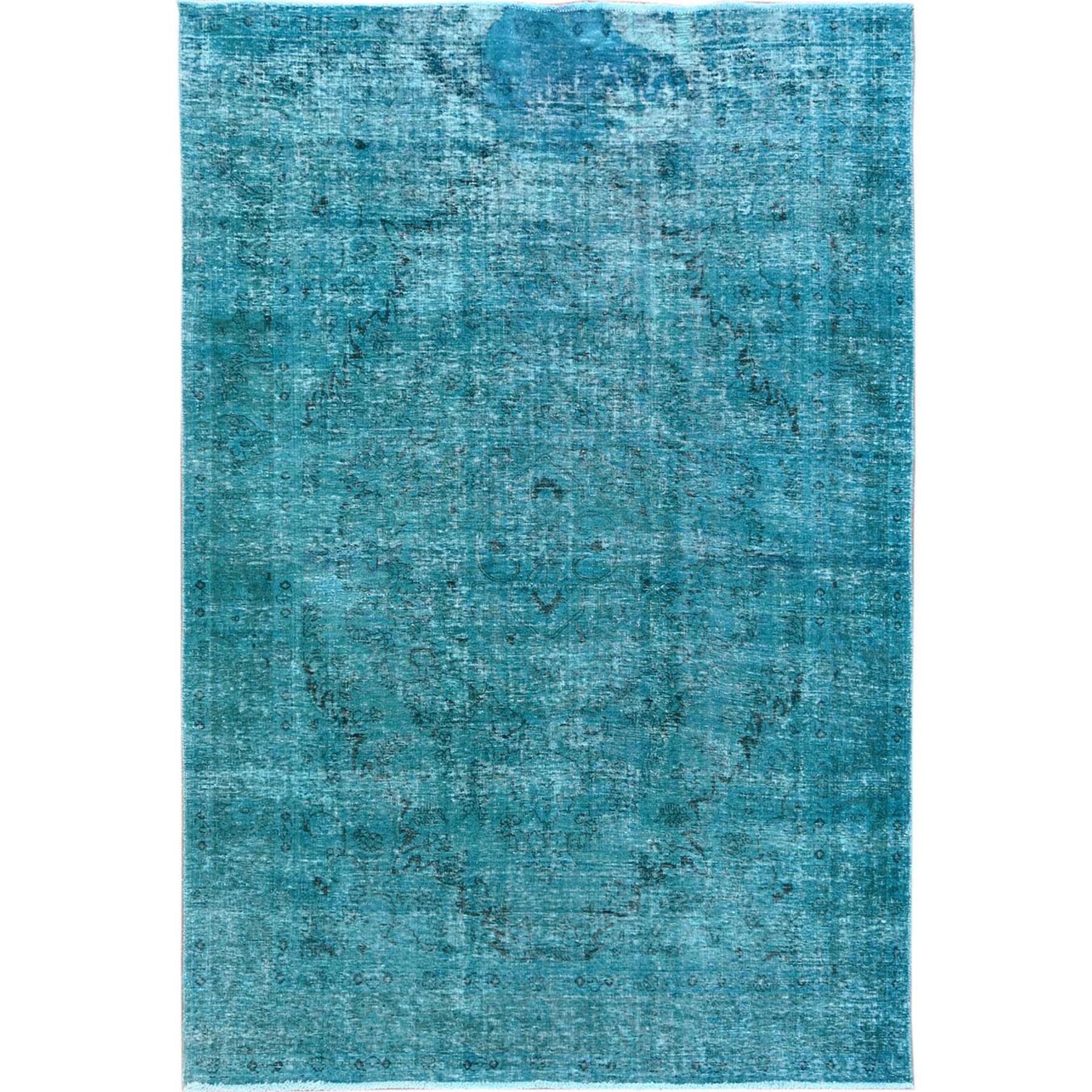 "6'4""x9'4"" Teal Persian Tabriz With Medallion Design Old Distressed Shabby Chic Pure Wool Clean Hand Woven Oriental Rug"