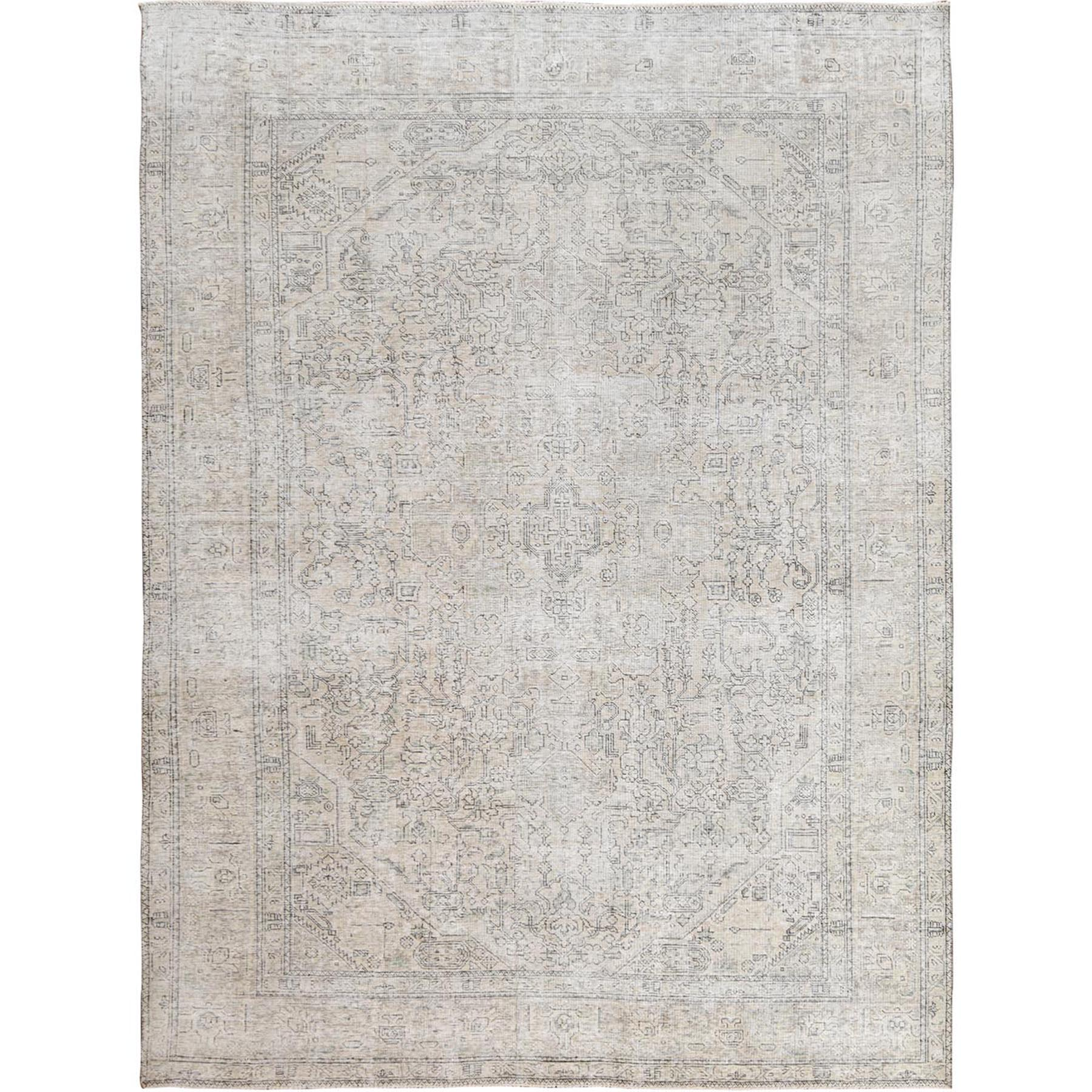 8'x11' Beige Clean Pure Wool Shabby Chic Distressed Vintage Look Persian Tabriz Medallion Design Hand Woven Oriental Rug