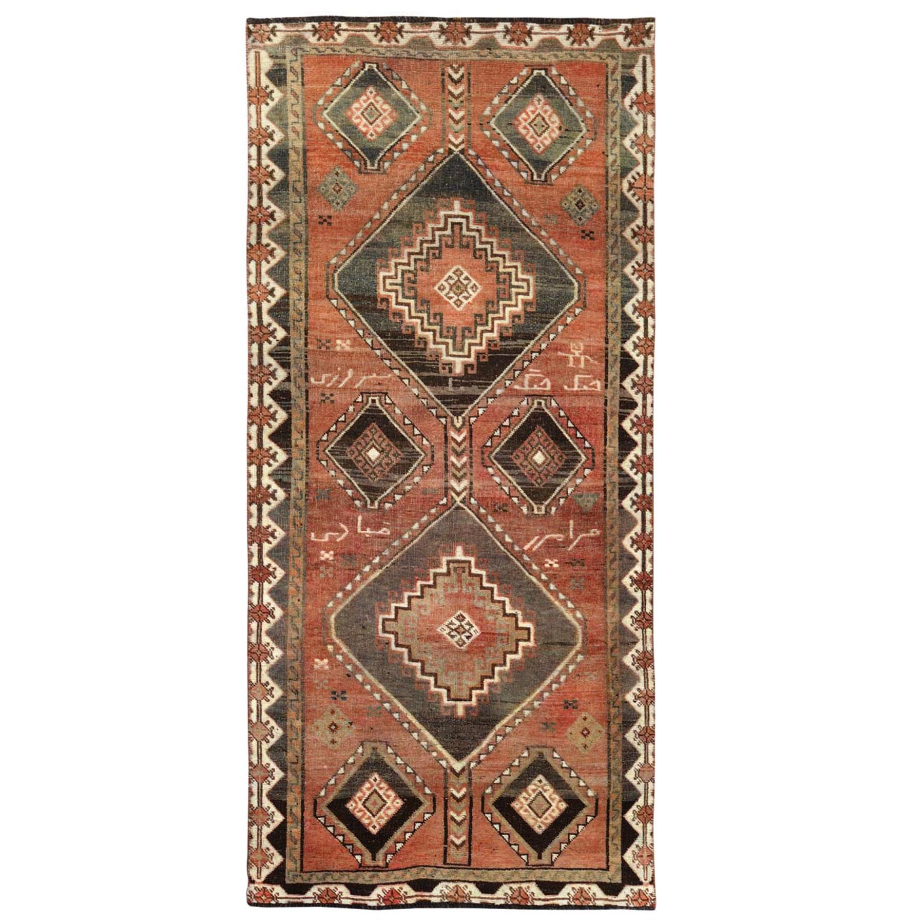 "4'1""x9'4"" Vintage and Worn Down Persian Shiraz Large Elements Wide Runner Hand Woven Oriental Rug"