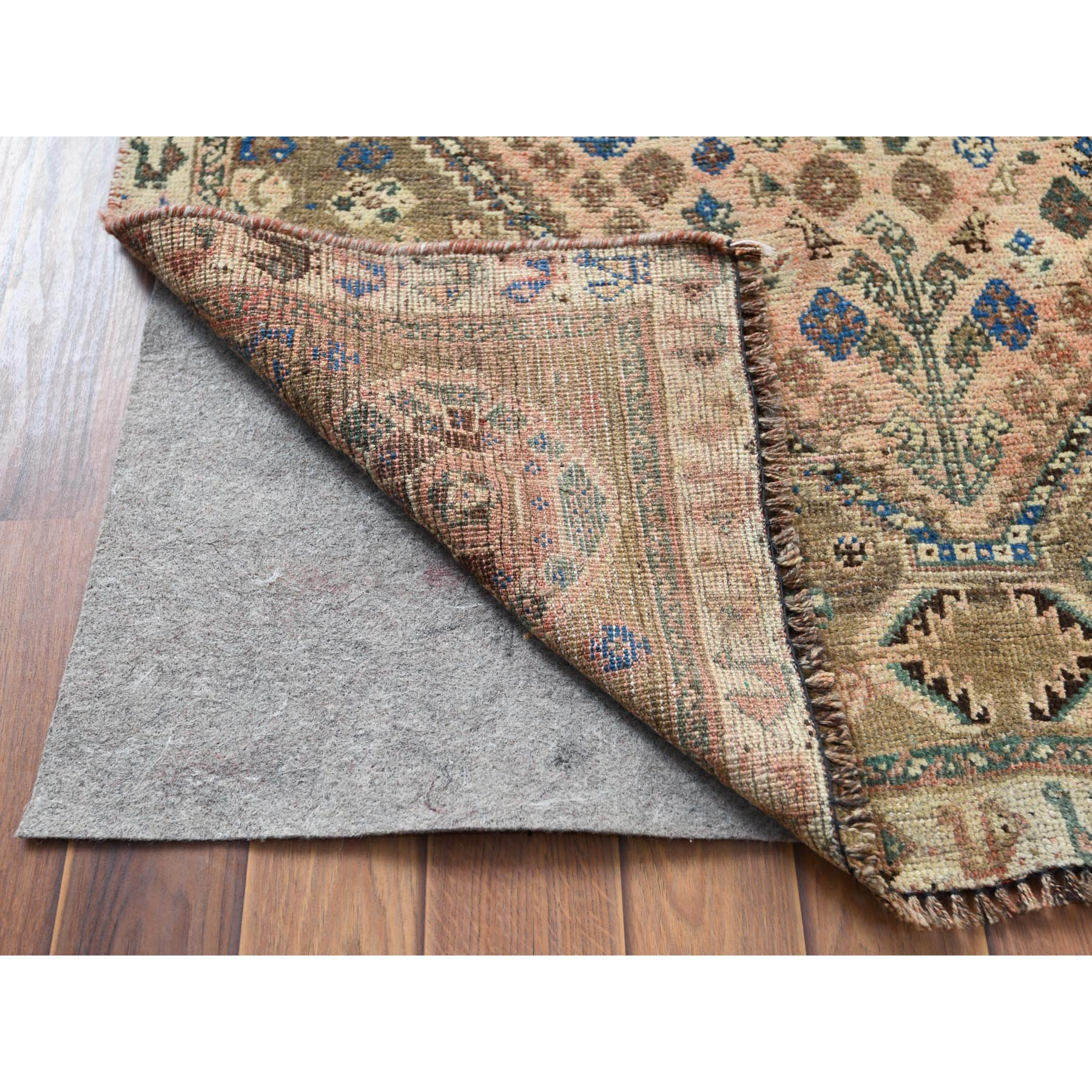 "3'5""x4'10"" Vintage Cropped Thin Persian Shiraz Hand Woven Oriental Rug"