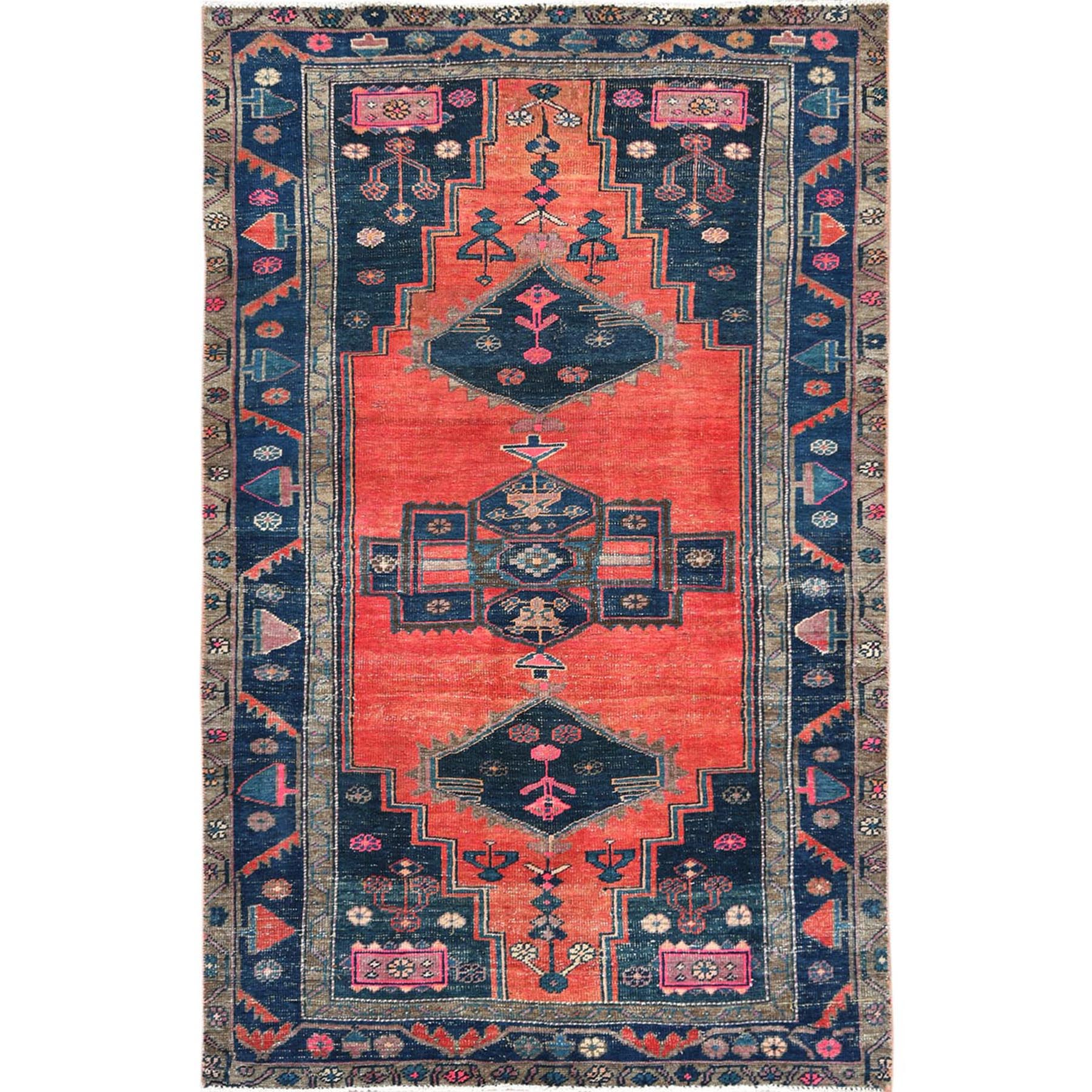 "4'6""x7'7"" Orange Persian Mazlagan Vintage Colorful Sheared Low Clean Hand Woven Oriental Rug"