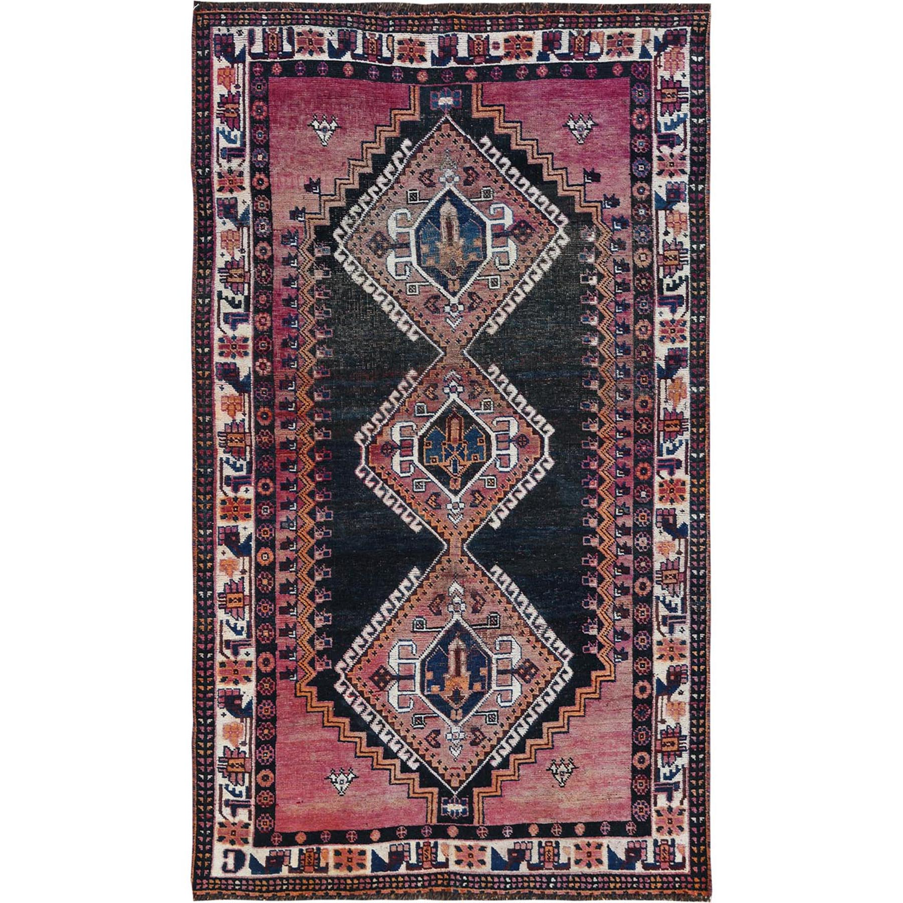 "4'2""x7'2"" Colorful Vintage Persian Qashqai Clean Cropped Thin Hand Woven Oriental Rug"