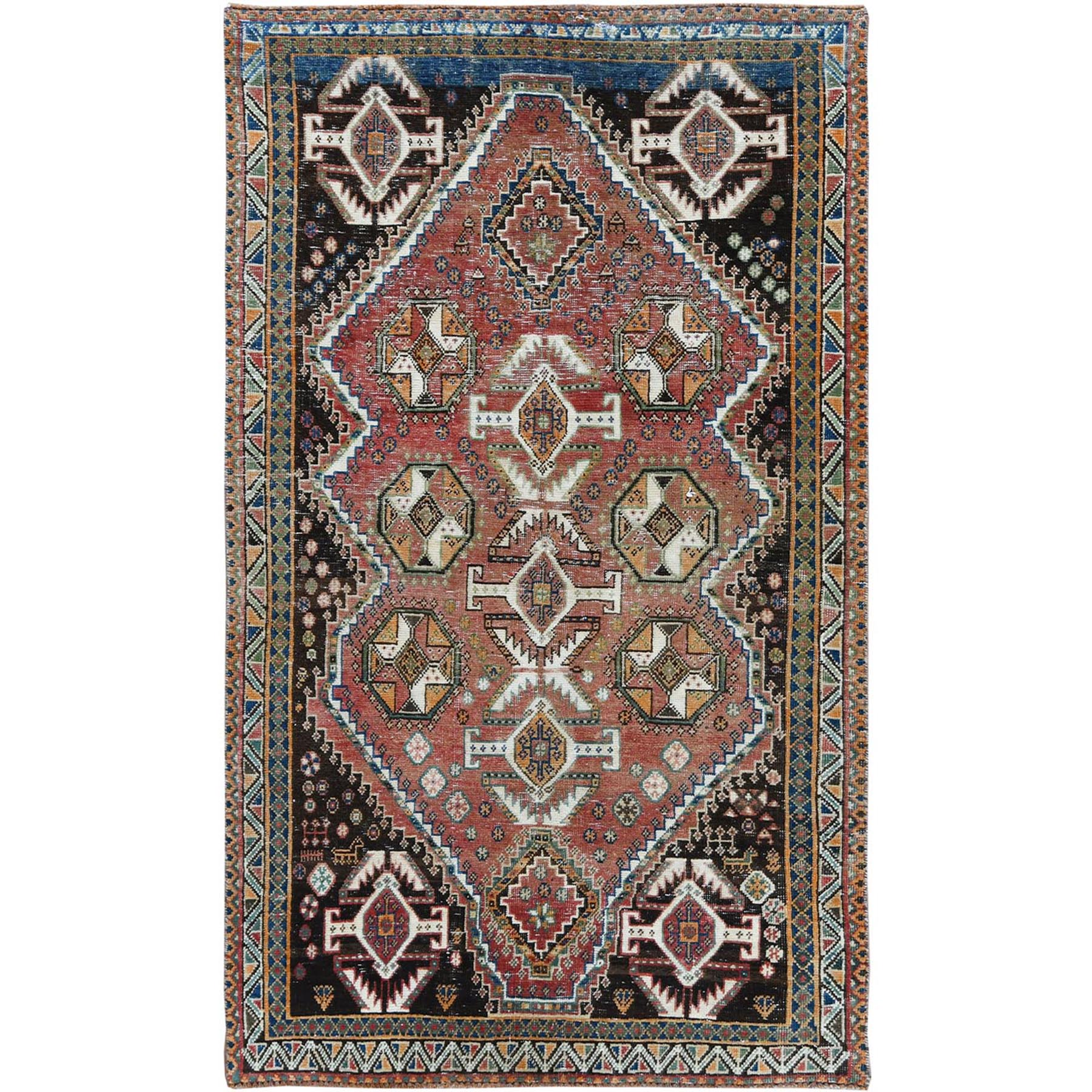 "3'10""x6'5"" Red Vintage and Sheared Low Persian Bohemian Hand Woven Clean Oriental Rug"