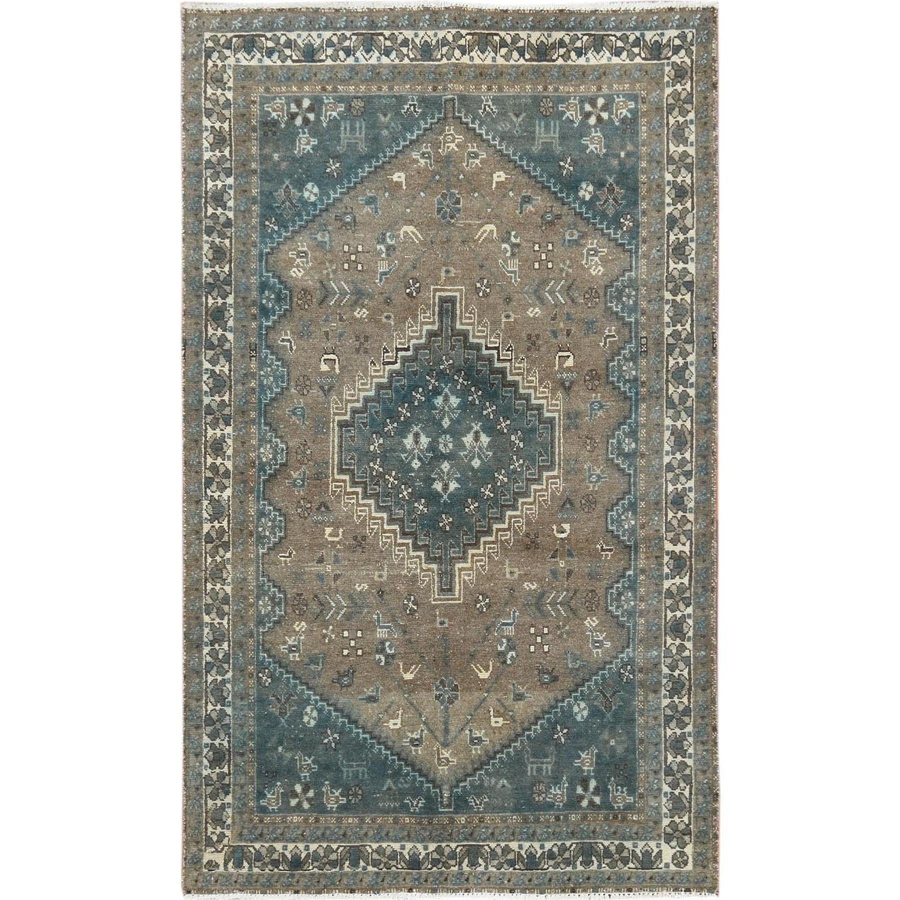 "4'3""x6'7"" Gray Old Persian Shiraz Cropped Thin Clean Hand Woven Oriental Rug"