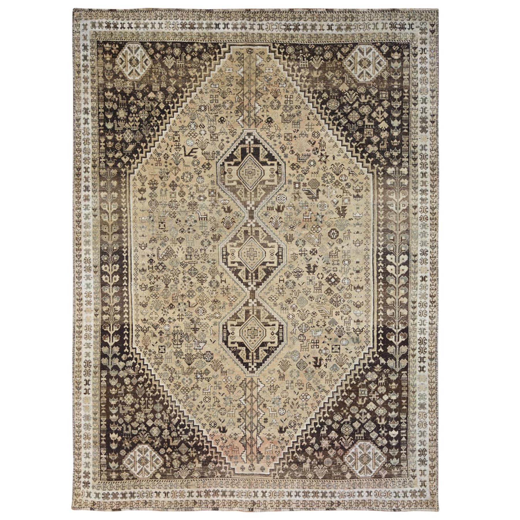 "7'5""x10'2"" Old Hand Woven Beige Persian Qashqai Bohemian Sheared Low Natural Wool Clean Oriental Rug"