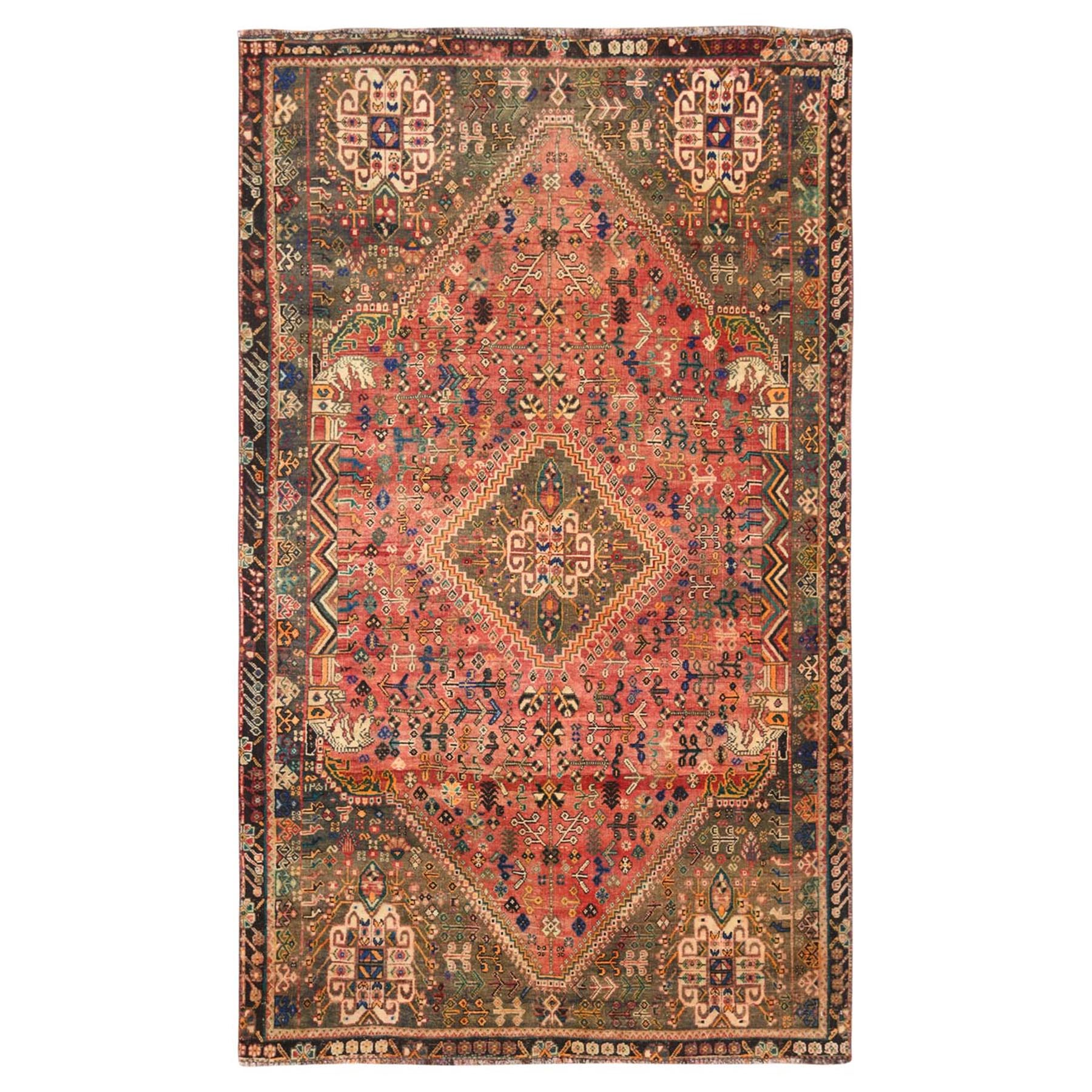 "4'10""x7'8"" Pure Wool Orange Persian Shiraz Cropped Thin Vintage Bohemian Clean Hand Woven Oriental Rug"