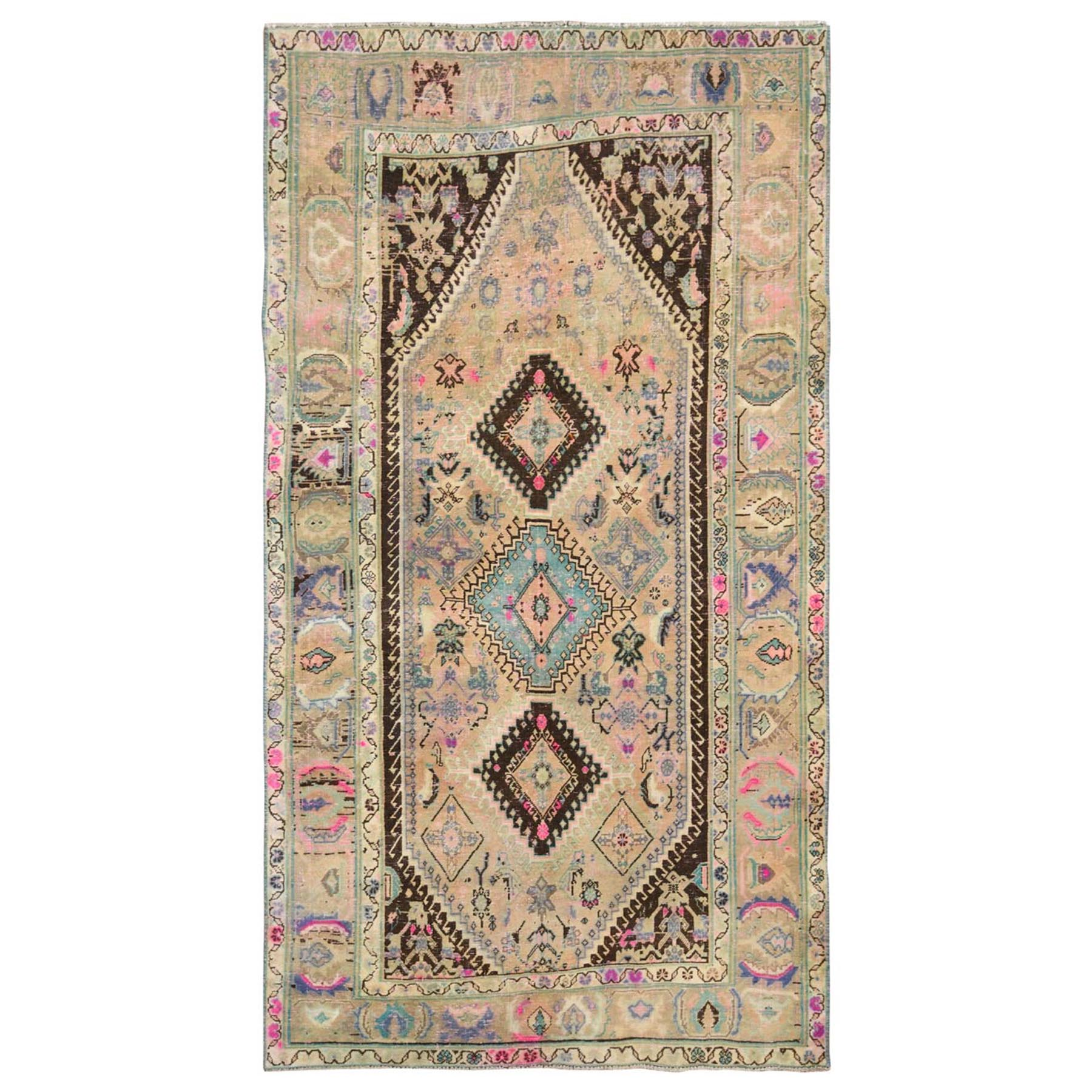 "4'7""x9' Colorful Persian Qashqai Hand Woven Natural Wool Sheared Low Vintage Bohemian Clean Oriental Rug"