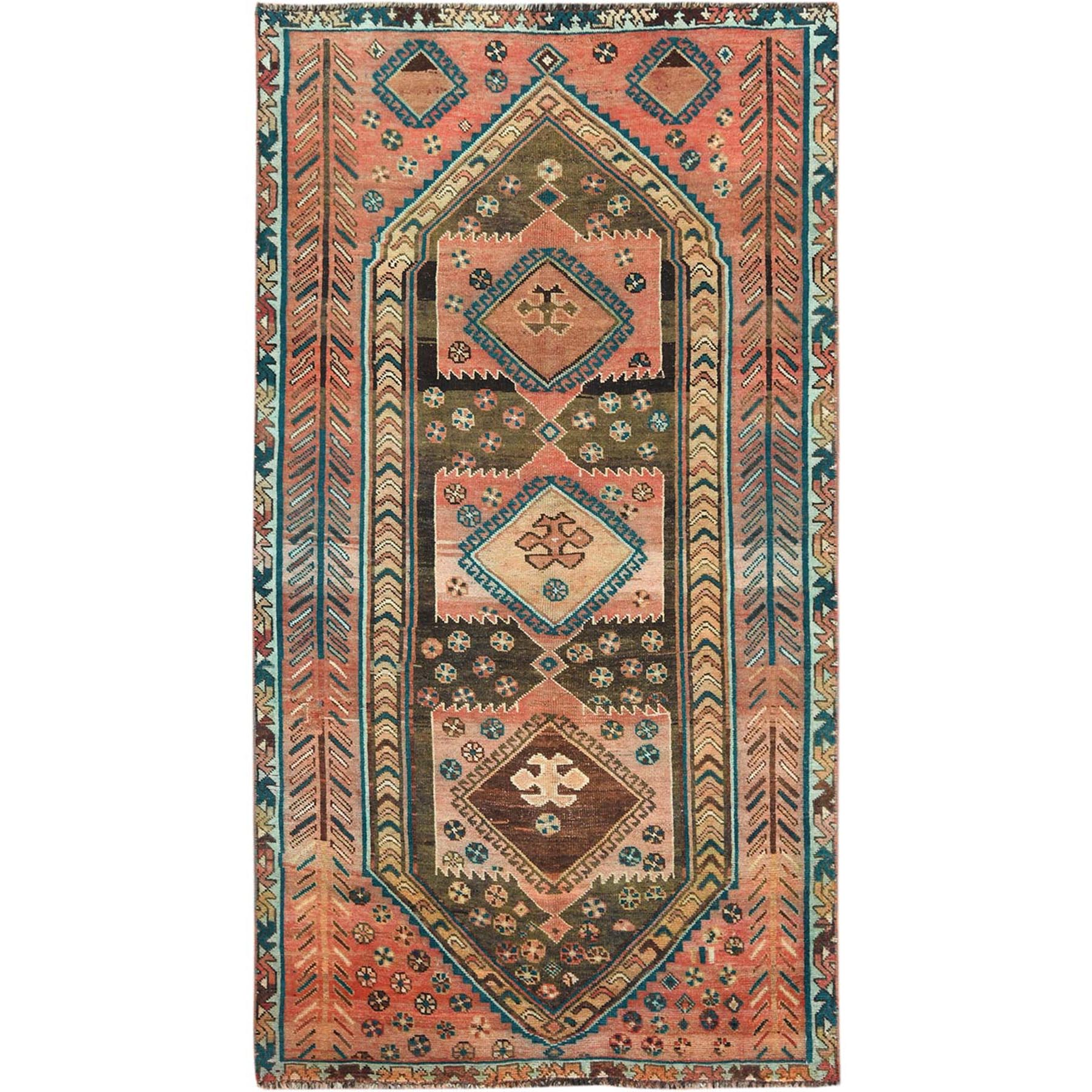 "4'9""x8'9"" Semi Antique Hand Woven Orange Persian Shiraz Distressed Bohemian Clean Pure Wool Gallery Size Runner Oriental Rug"