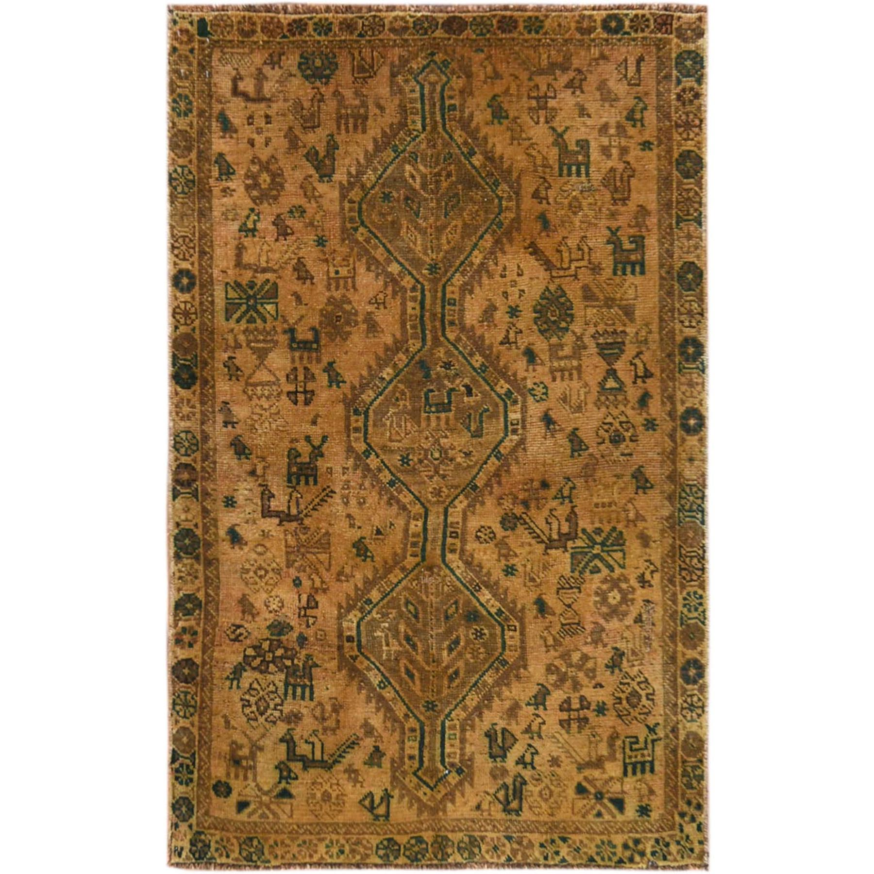 "3'3""x5'3"" Vintage Honey Brown Hand Woven Persian Shiraz With Animals Design Bohemian Distressed Organic Wool Clean Oriental Rug"