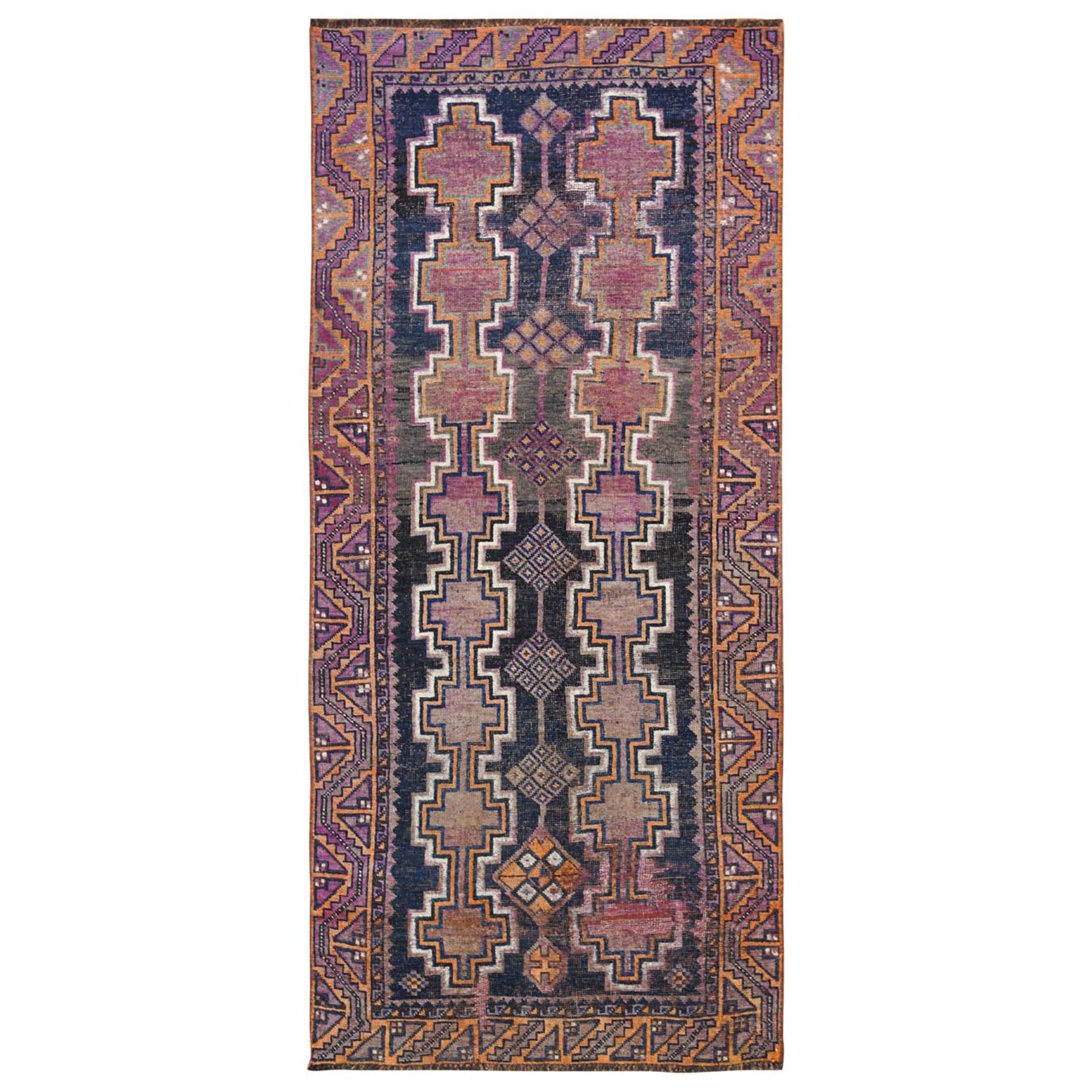 "4'x9'3"" Hand Woven Navy Blue Persian Shiraz Vintage Worn Down Clean Pure Wool Bohemian Oriental Gallery Size Runner Rug"