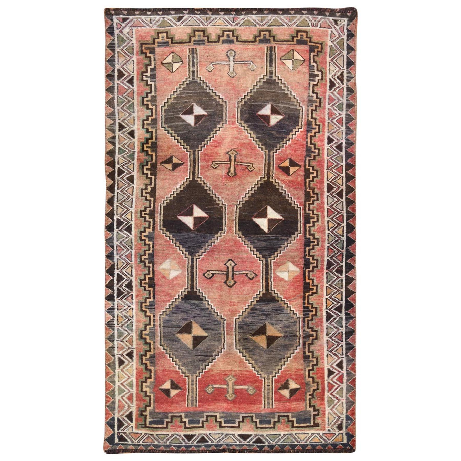 "3'10""x6'9"" Faded Red Persian Qashqai Vintage Worn Down Clean Organic Wool Bohemian Hand Woven Oriental Rug"