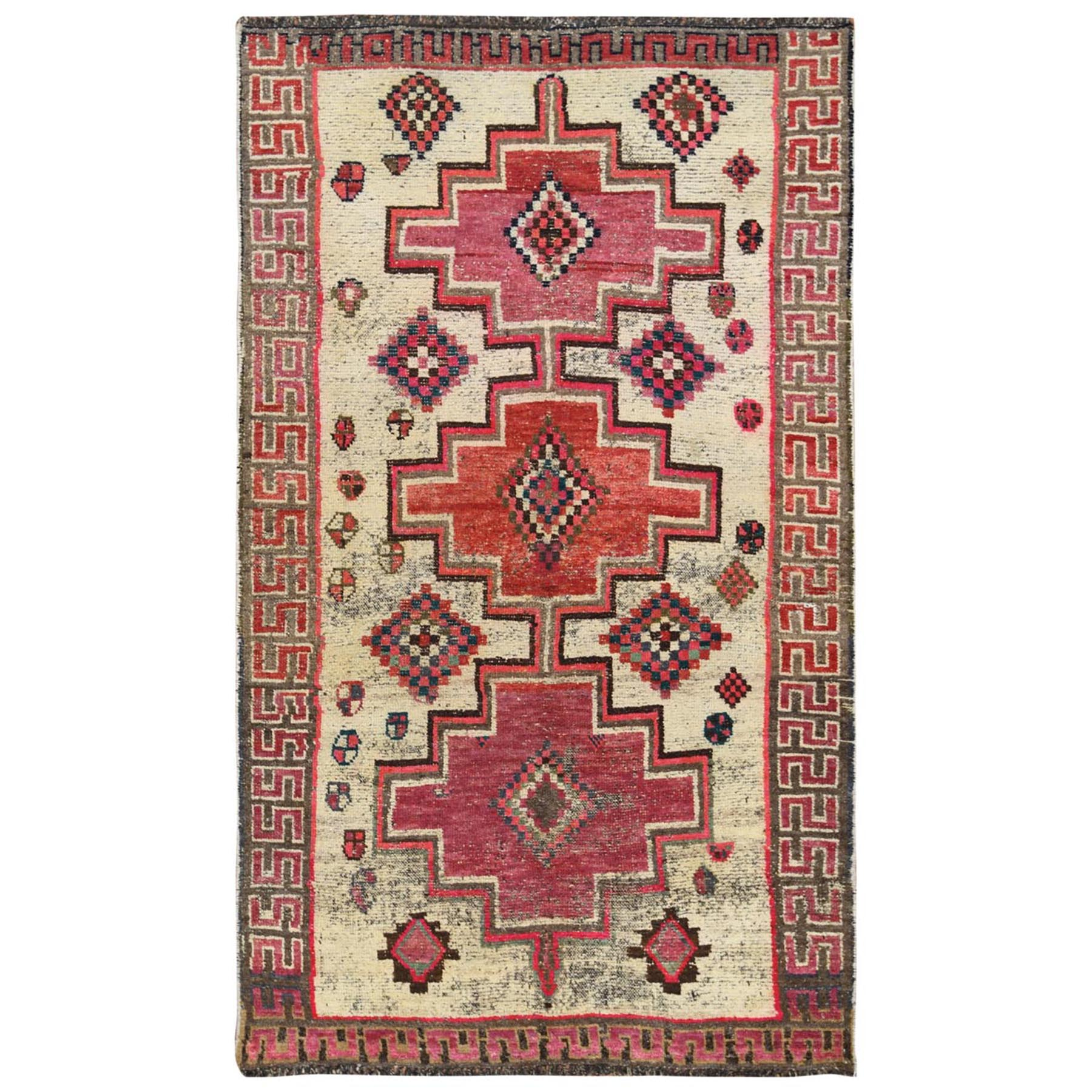 "4'2""x7'2"" Ivory Persian Shiraz Hand Woven Cropped Thin Clean Bohemian Organic Wool Vintage Oriental Rug"