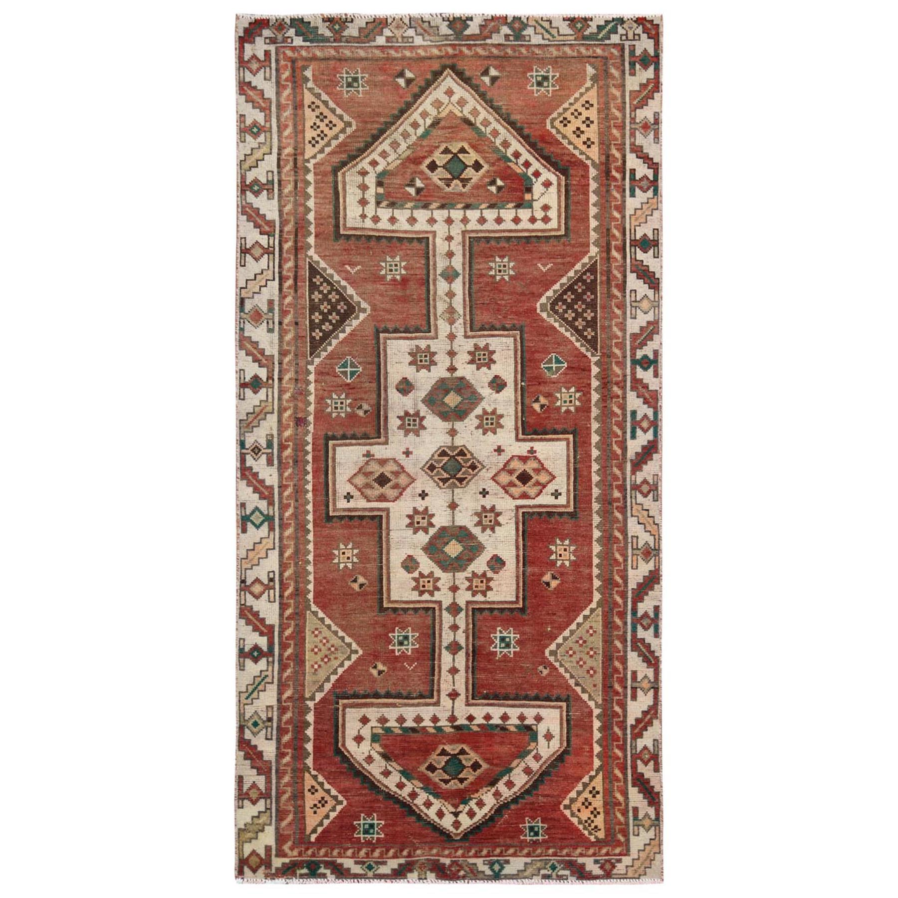 "4'3""x8'7"" Ivory Persian Shiraz Old Distressed Hand Woven Pure Wool Clean Bohemian Oriental Rug"