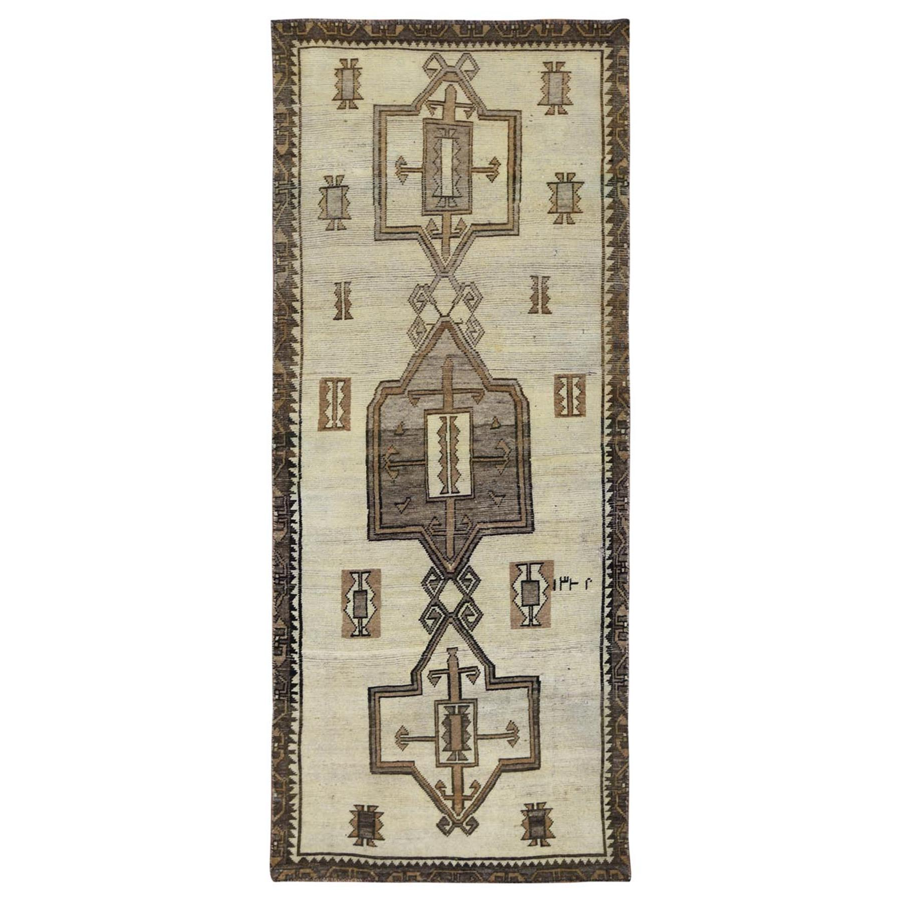 "3'4""x8'5"" Hand Woven Ivory Persian Qashqai Sheared Low Bohemian Clean Semi Antique Natural Wool Gallery Size Runner Oriental Rug"