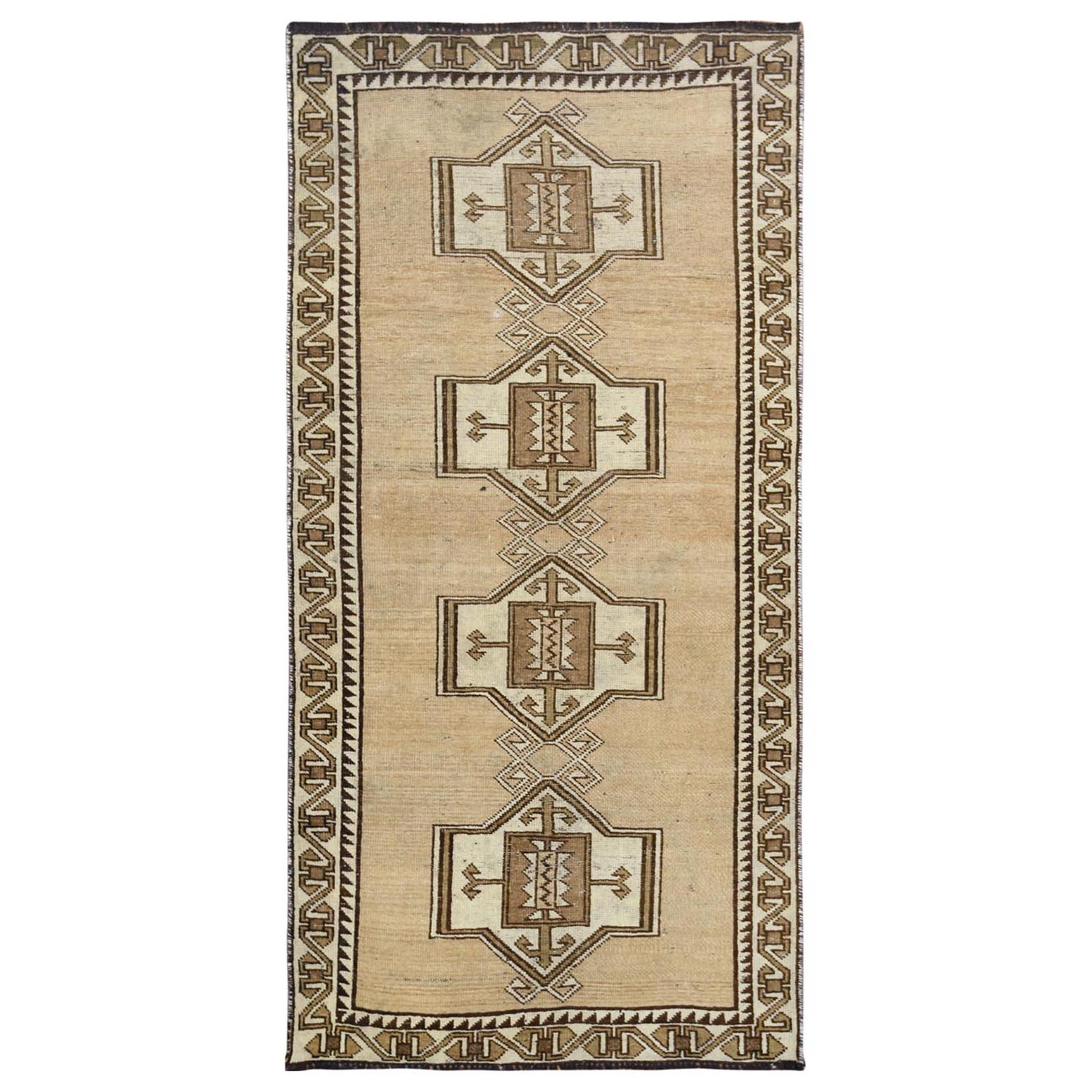 "3'3""x6'6"" Vintage Beige Persian Shiraz Bohemian Distressed Natural Wool Clean Hand Woven Oriental Rug"