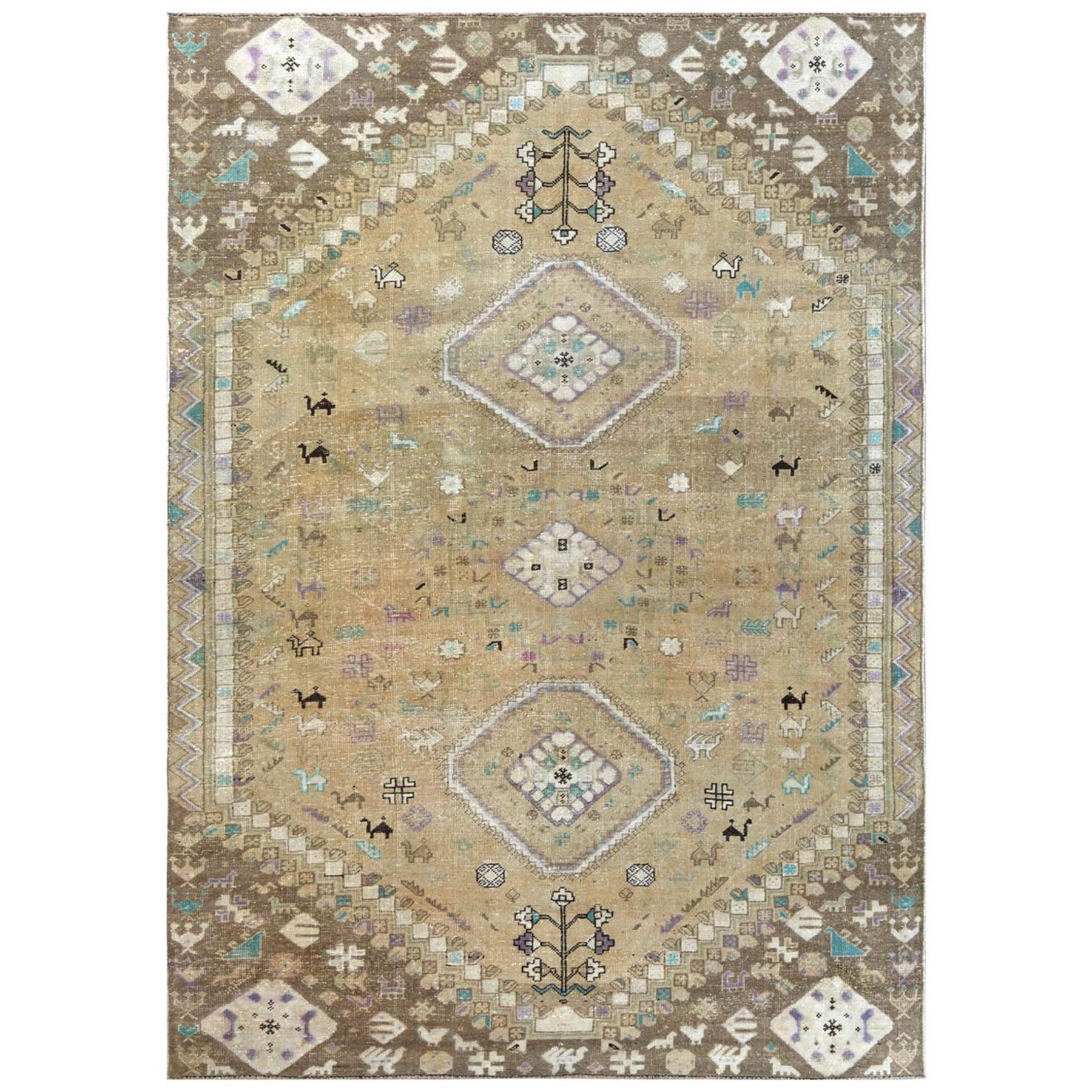"6'1""x9' Bohemian Persian Shiraz Pure Wool Beige Semi Antique Distressed Hand Woven Clean Oriental Rug"