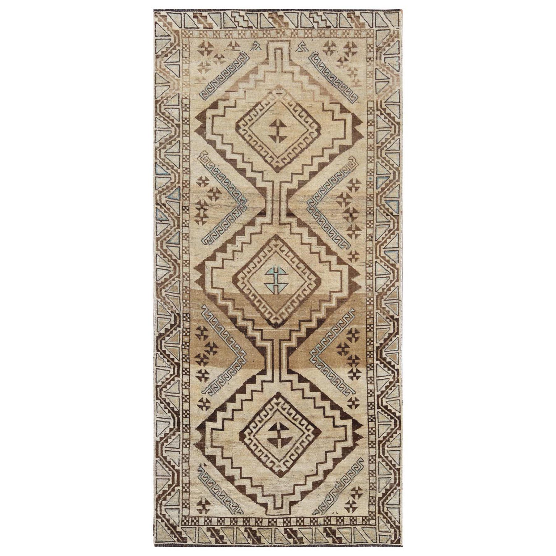 "4'1""x8'8"" Bohemian Persian Qashqai Beige Hand Woven Clean Organic Wool Cropped Thin Semi Antique Oriental Gallery Size Runner Rug"