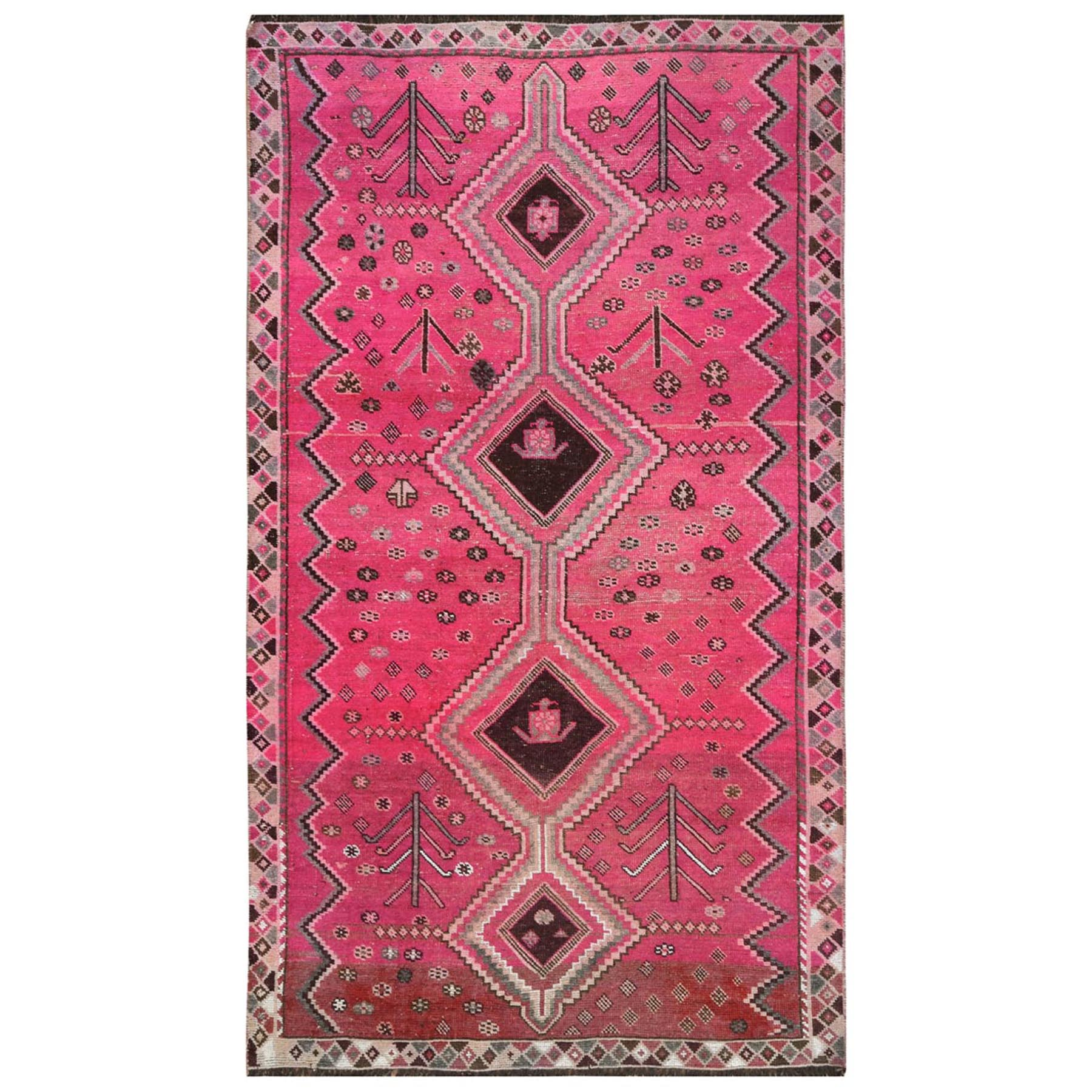 "4'5""x7'6"" Bohemian Semi Antique Pink Persian Qashqai Distressed Pure Wool Clean Hand Woven Oriental Rug"