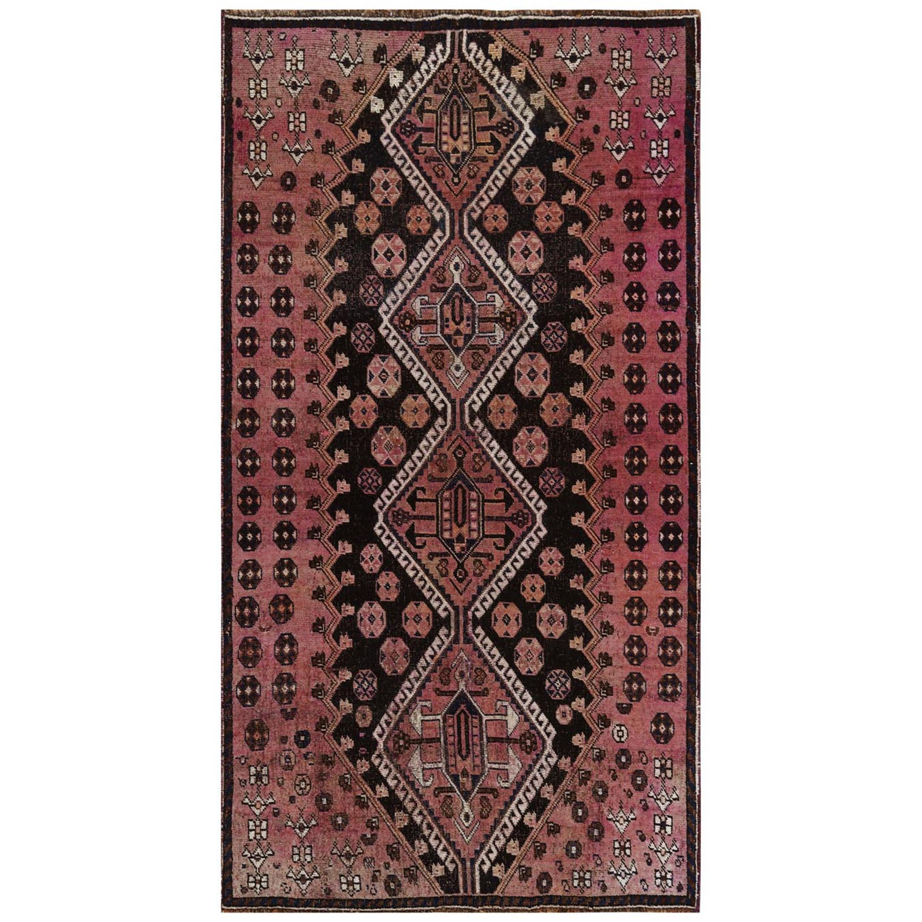 "4'x7'2"" Bohemian Persian Qashqai Pink Vintage Worn Down Clean Natural Wool Hand Woven Oriental Gallery Size Rug"