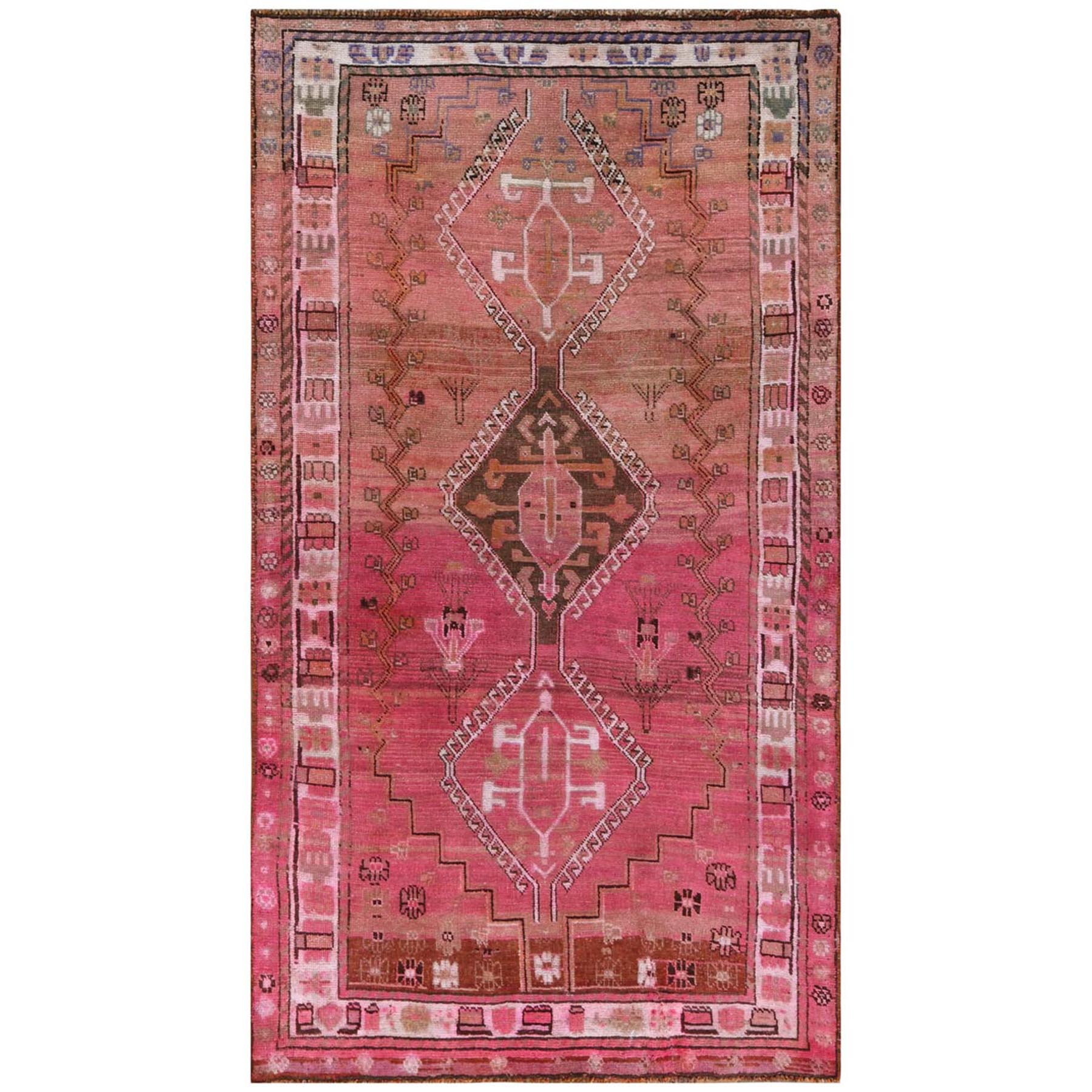 "4'x7'4"" Bohemian Pink Persian Qashqai Old Sheared Low Clean Pure Wool Hand Woven Oriental Gallery Size Rug"