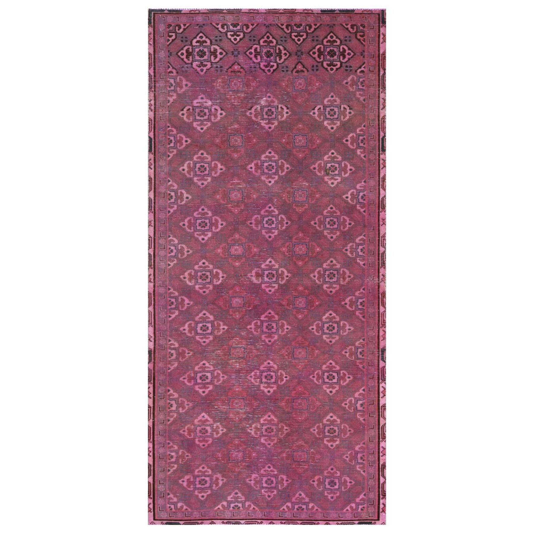 "4'1""x9' Bohemian Vintage Worn Down Pink Persian Shiraz Clean Hand Woven Organic Wool Oriental Gallery Size Runner Rug"